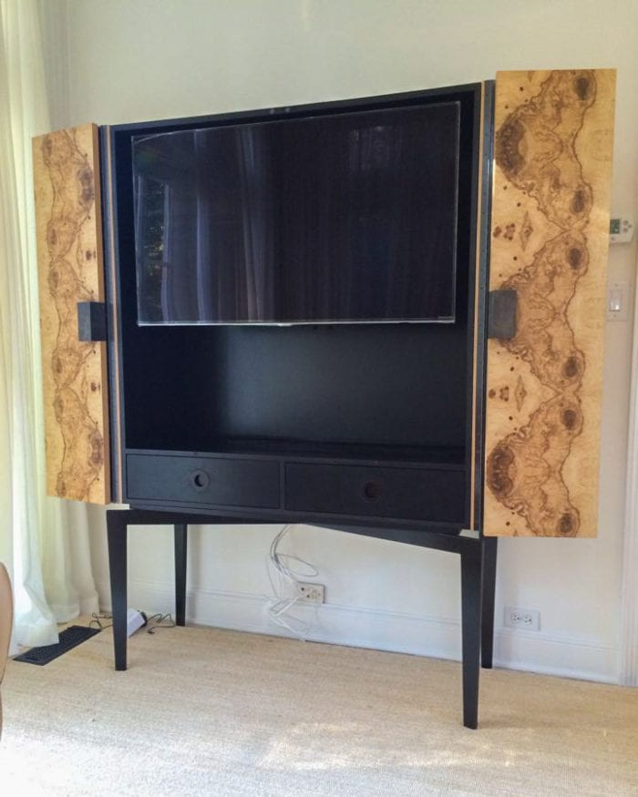 Black TV Stand with Stained Wooden Cabinet Doors