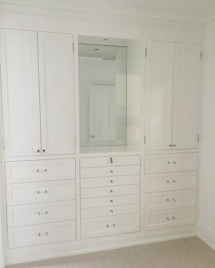 White Closet with Gold Accents