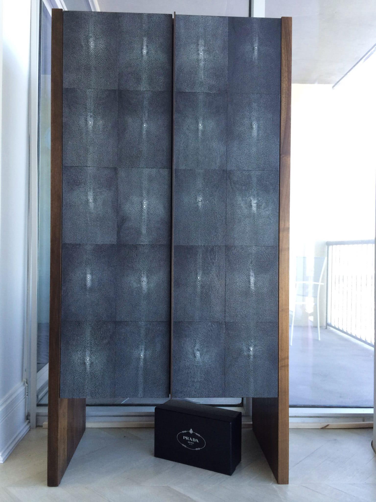 Tall Shagreen Storage Cabinet