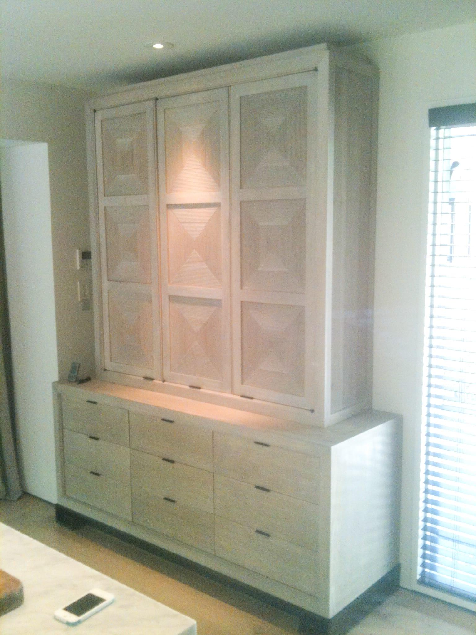 White Oak Entertainment Console with White Oak Cabinets