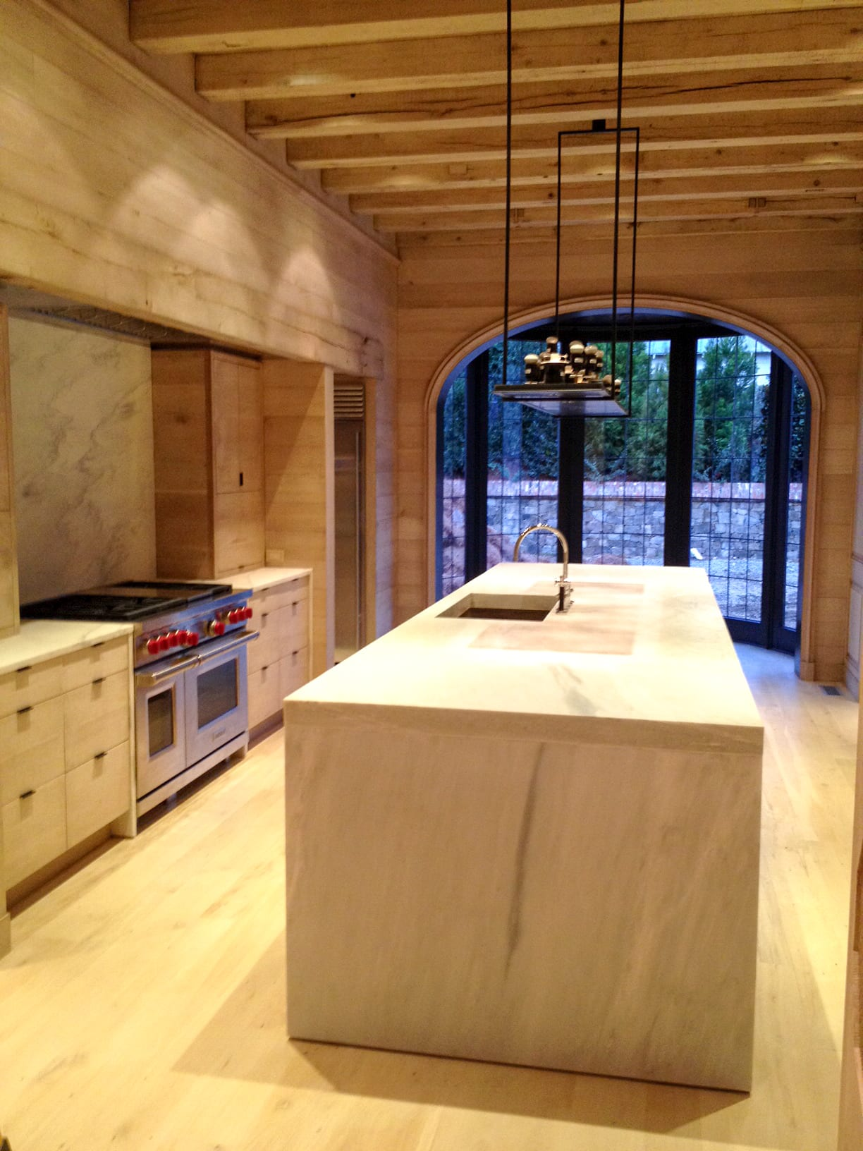 All Wood Kitchen with stainless steel appliances