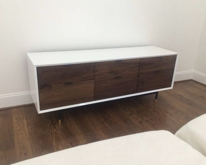 White Credenza with Walnut Cabinets