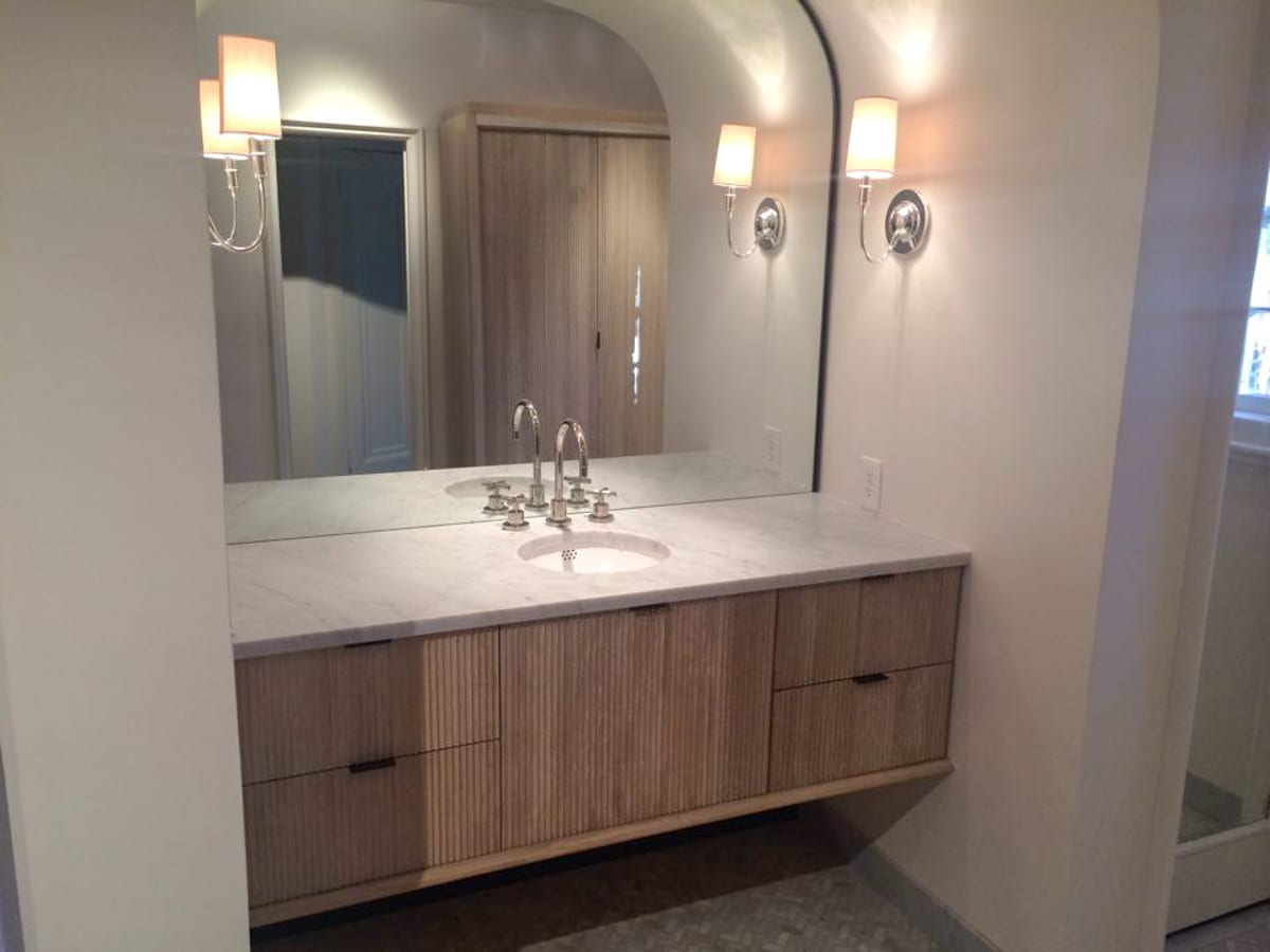 Fluted Bathroom Vanity With Marble Counters Mdm Design Studio