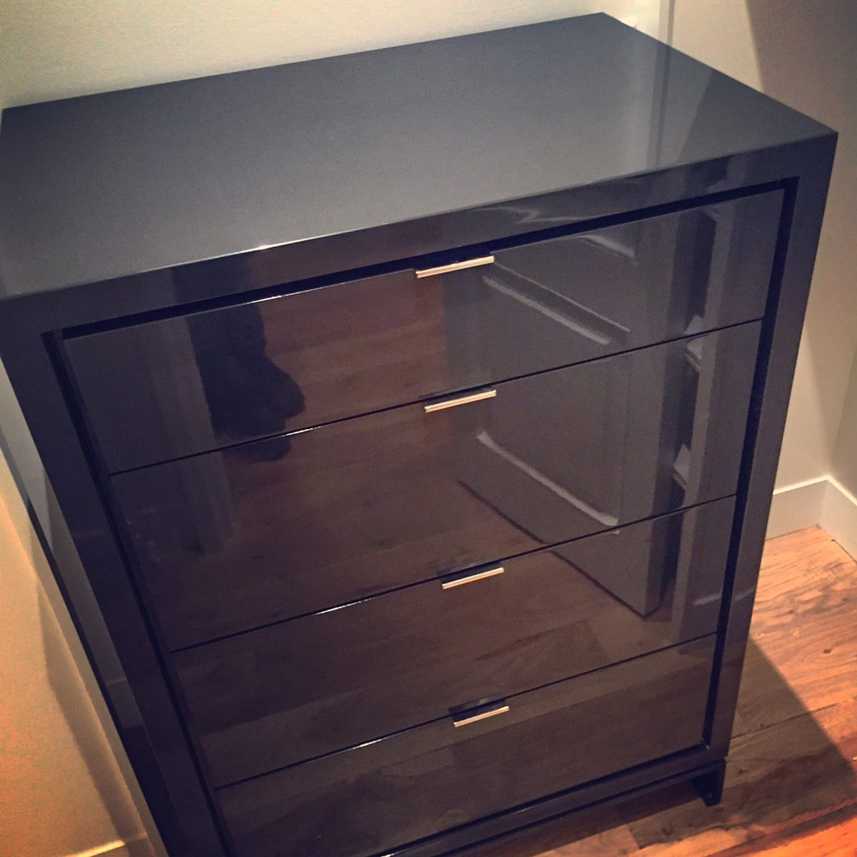 Sleek Black Bedside Table