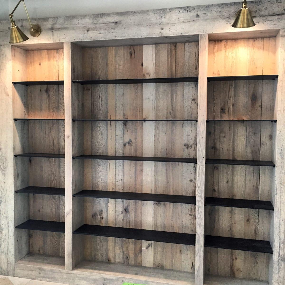 Wood Paneled Bookcase with Black Shelves