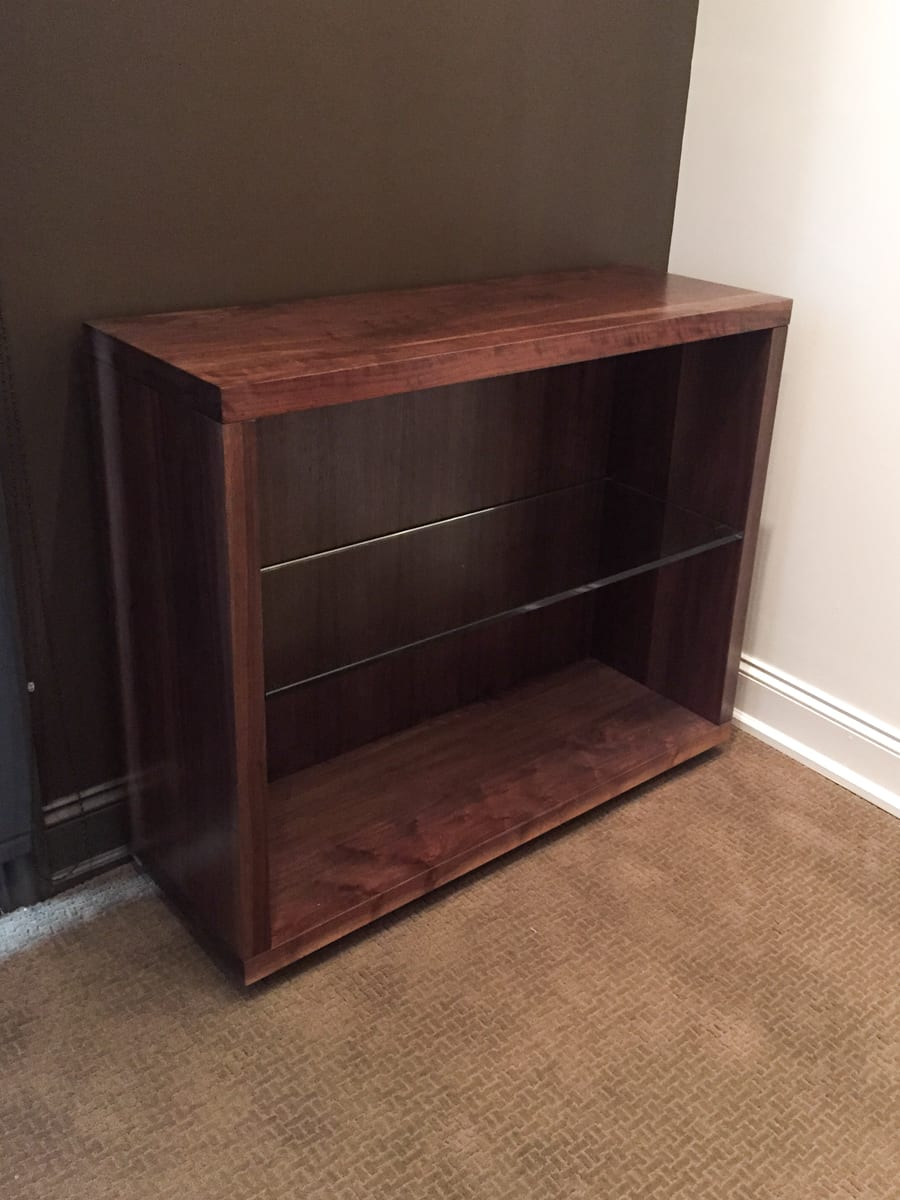 Short Walnut Bookcase with Glass Shelf