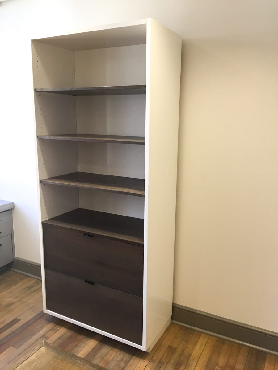 White Bookcase with Walnut Shelves
