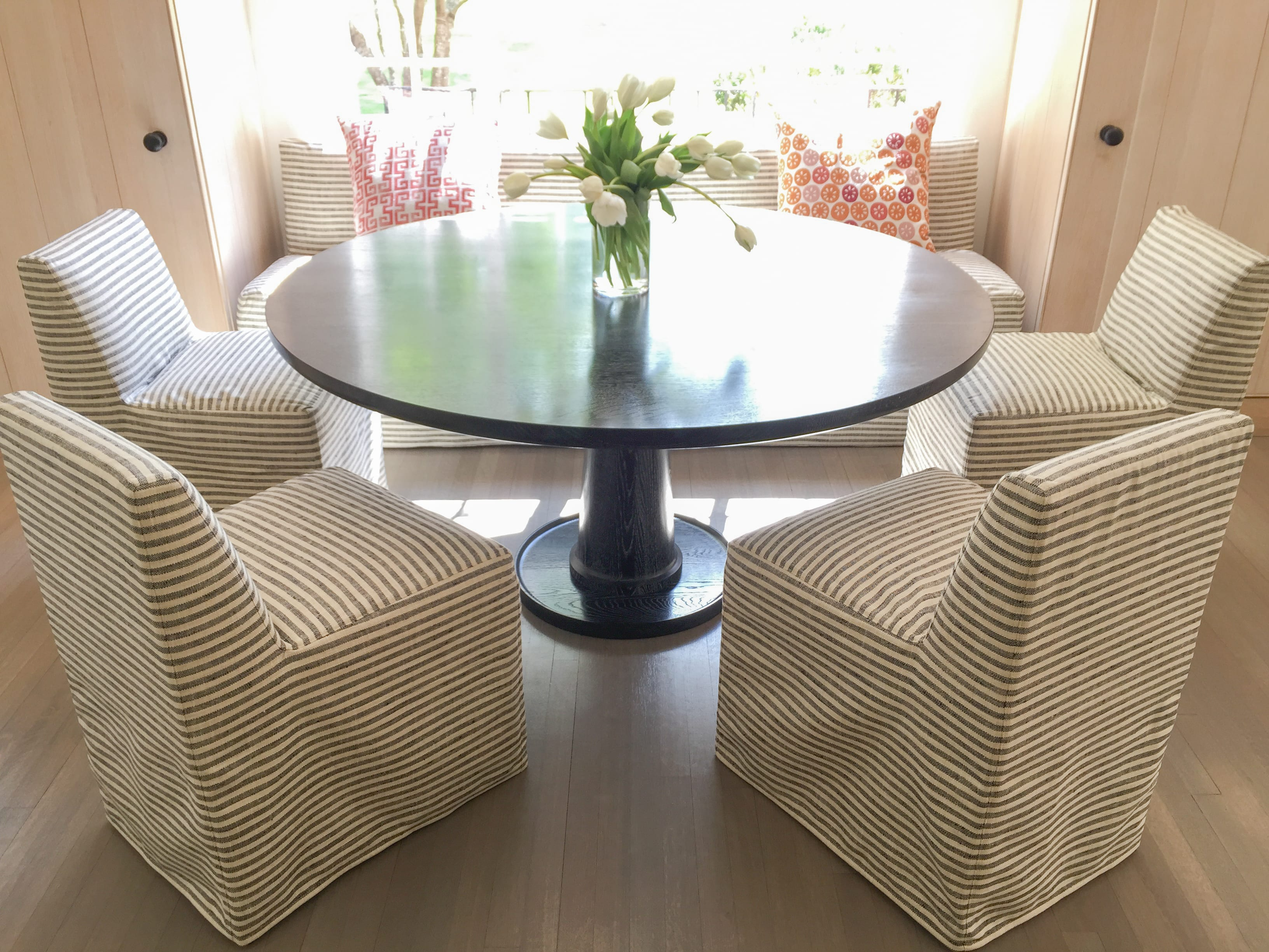 Black Wood dining table for 6 front view