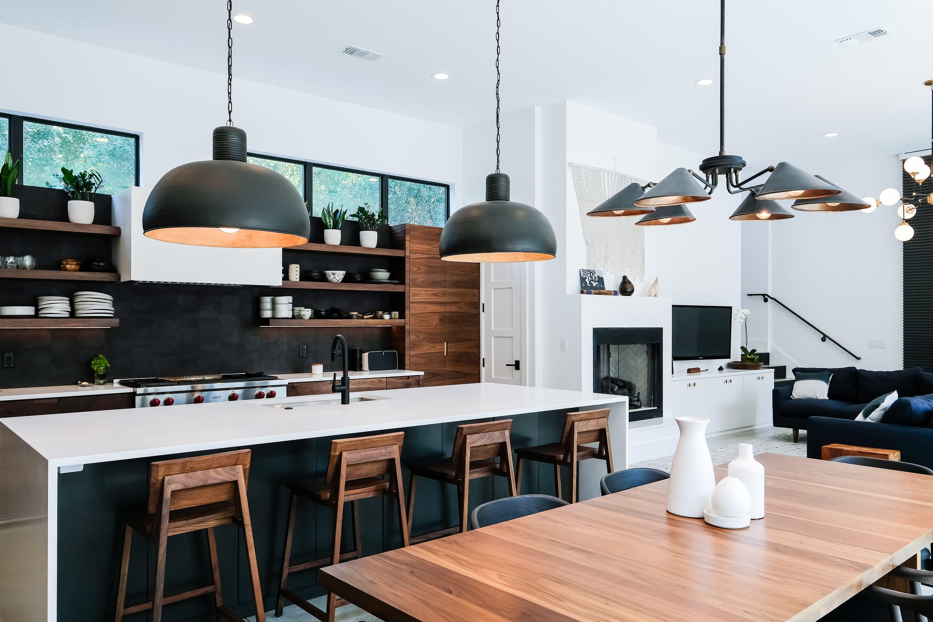 Black, White, and Walnut Kitchen frontside view