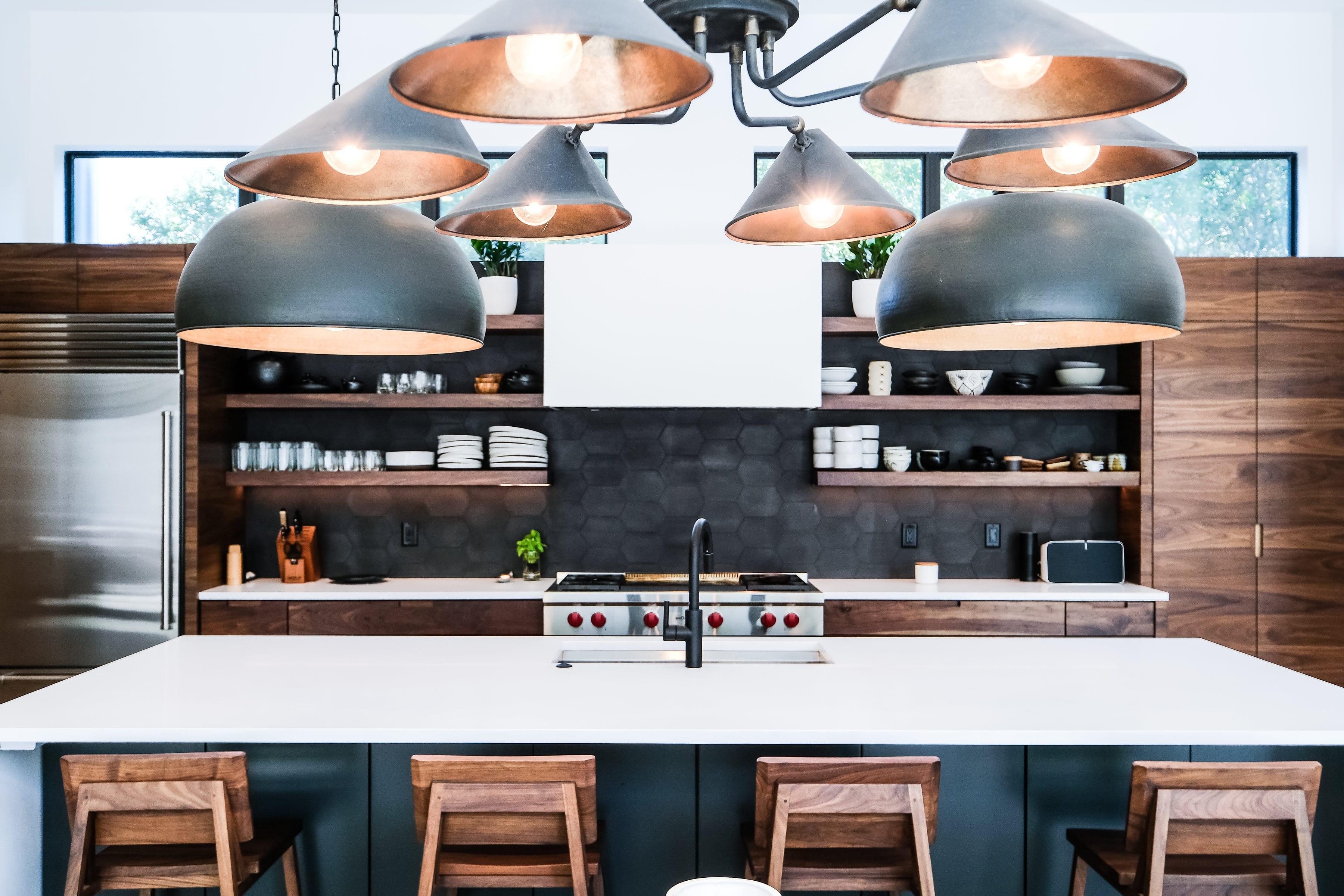 Black, White, and Walnut Kitchen closeup front view