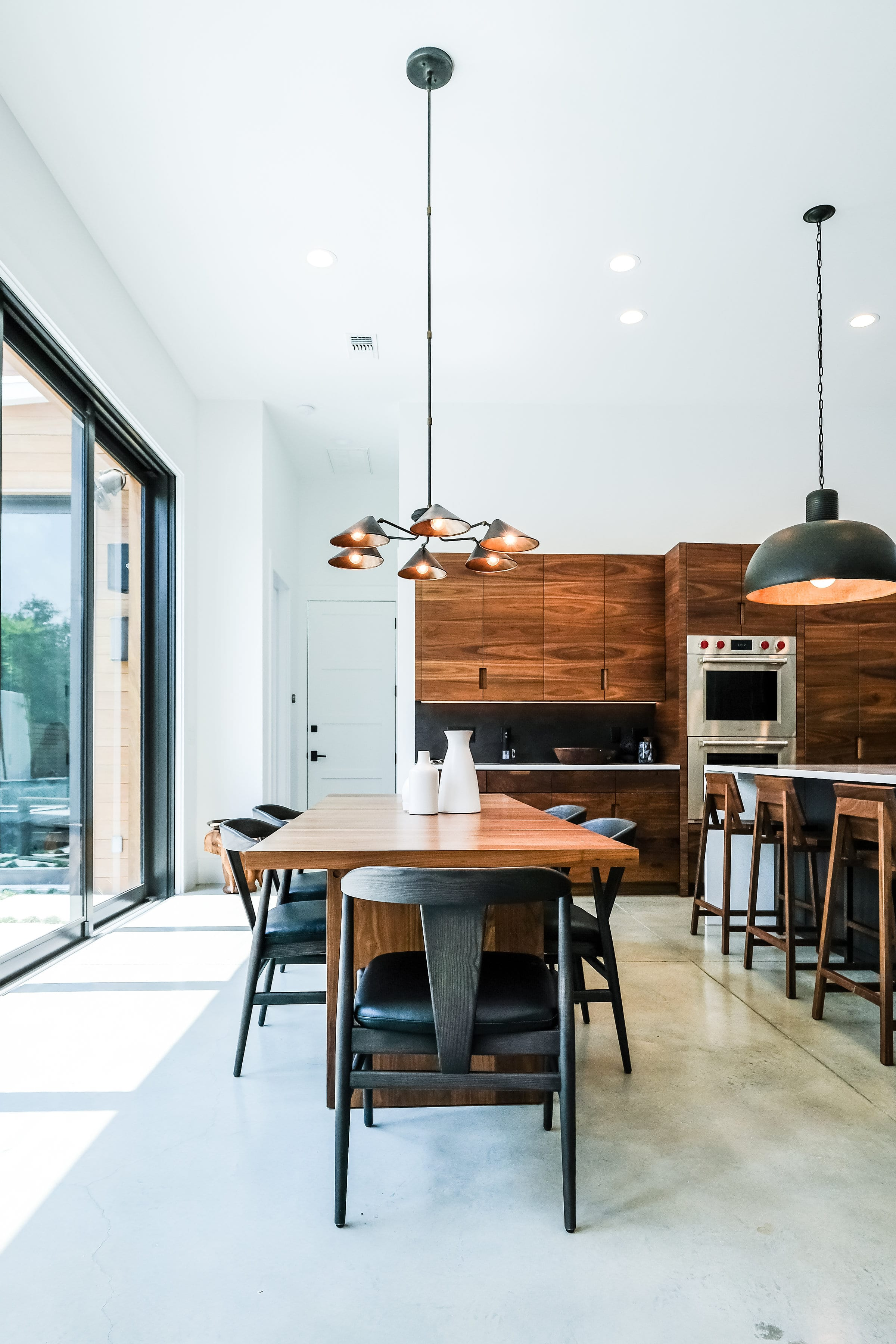 Black, White, and Walnut Kitchen table view