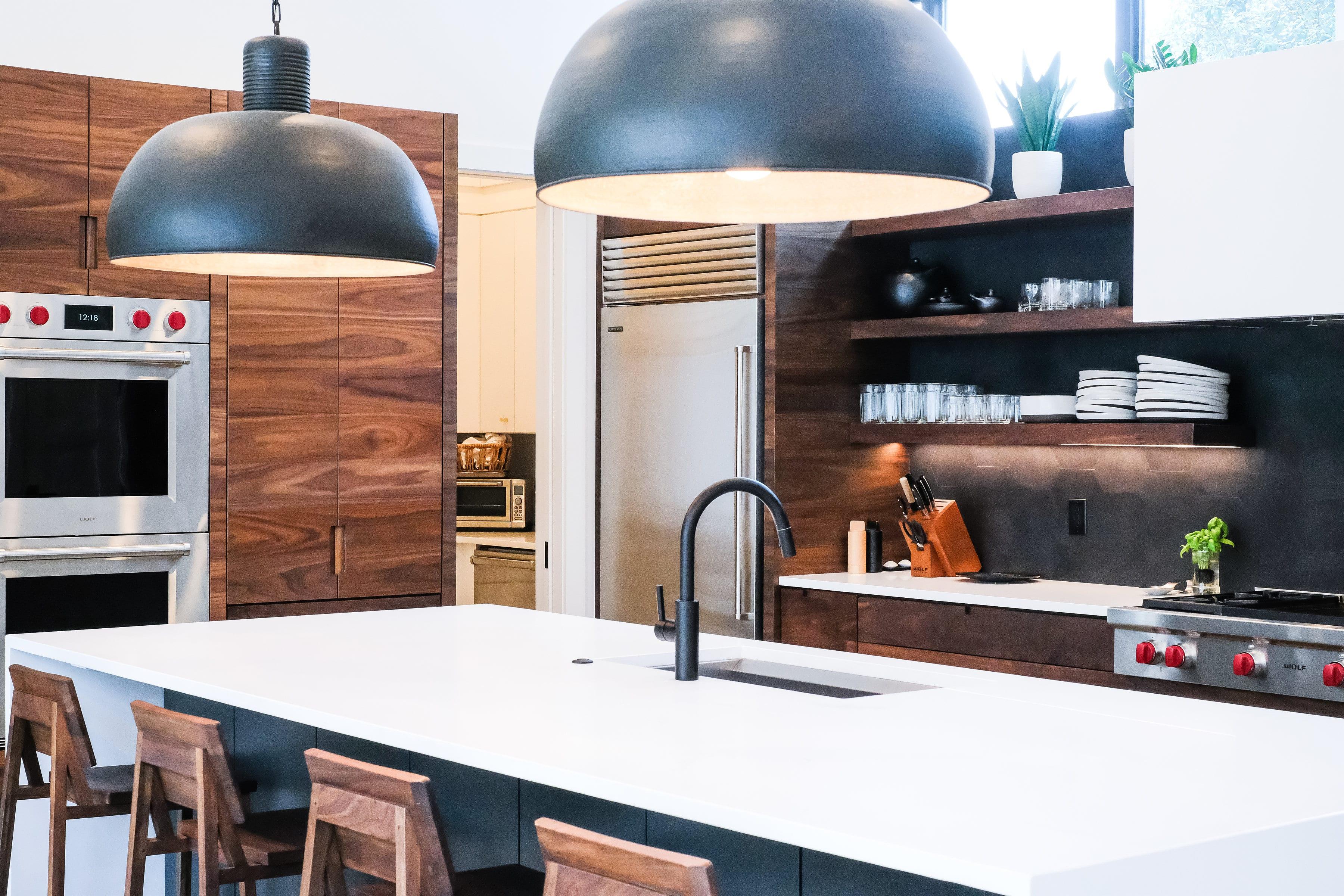 Black, White, and Walnut Kitchen closeup side view