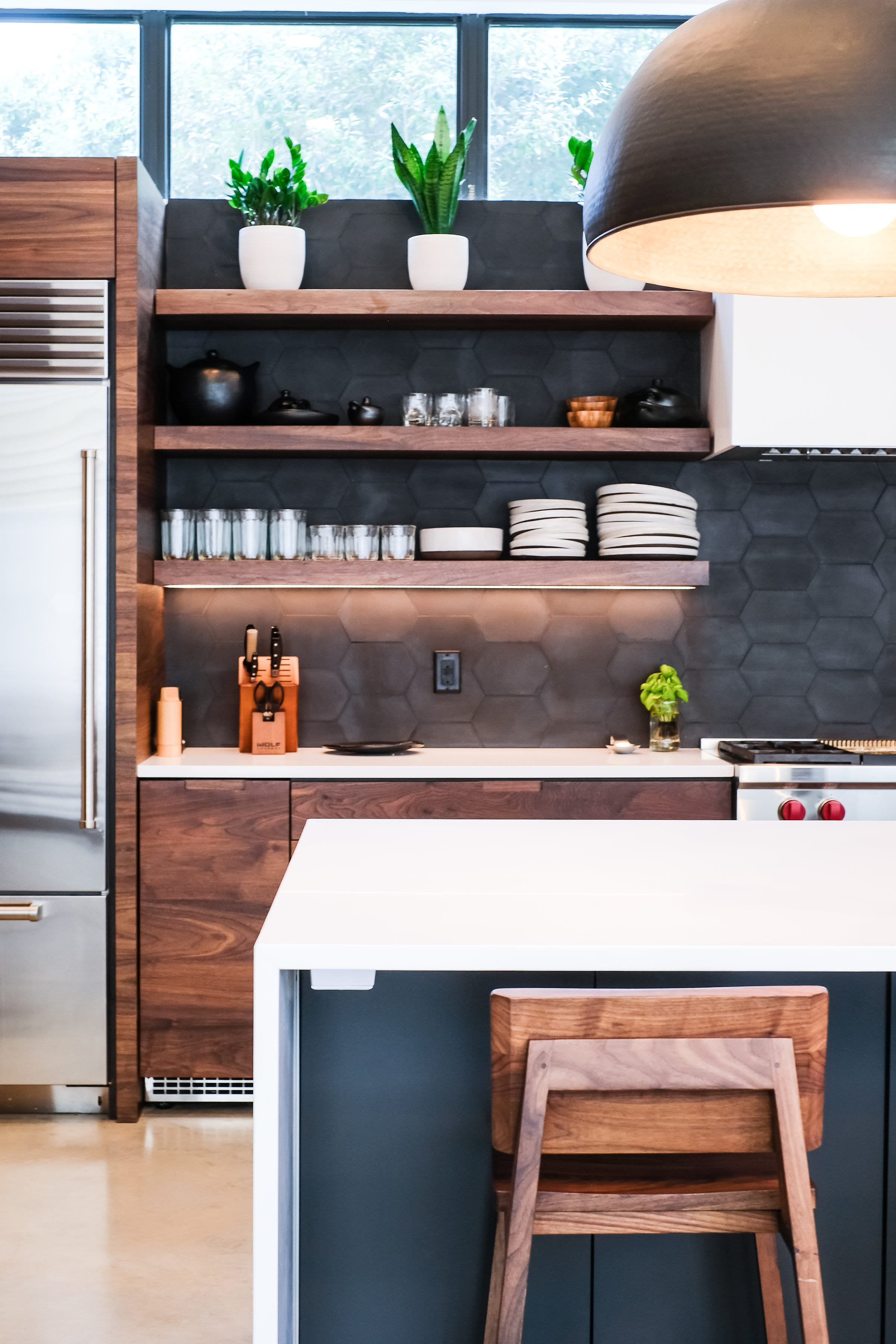 Black, White, and Walnut Kitchen left side details
