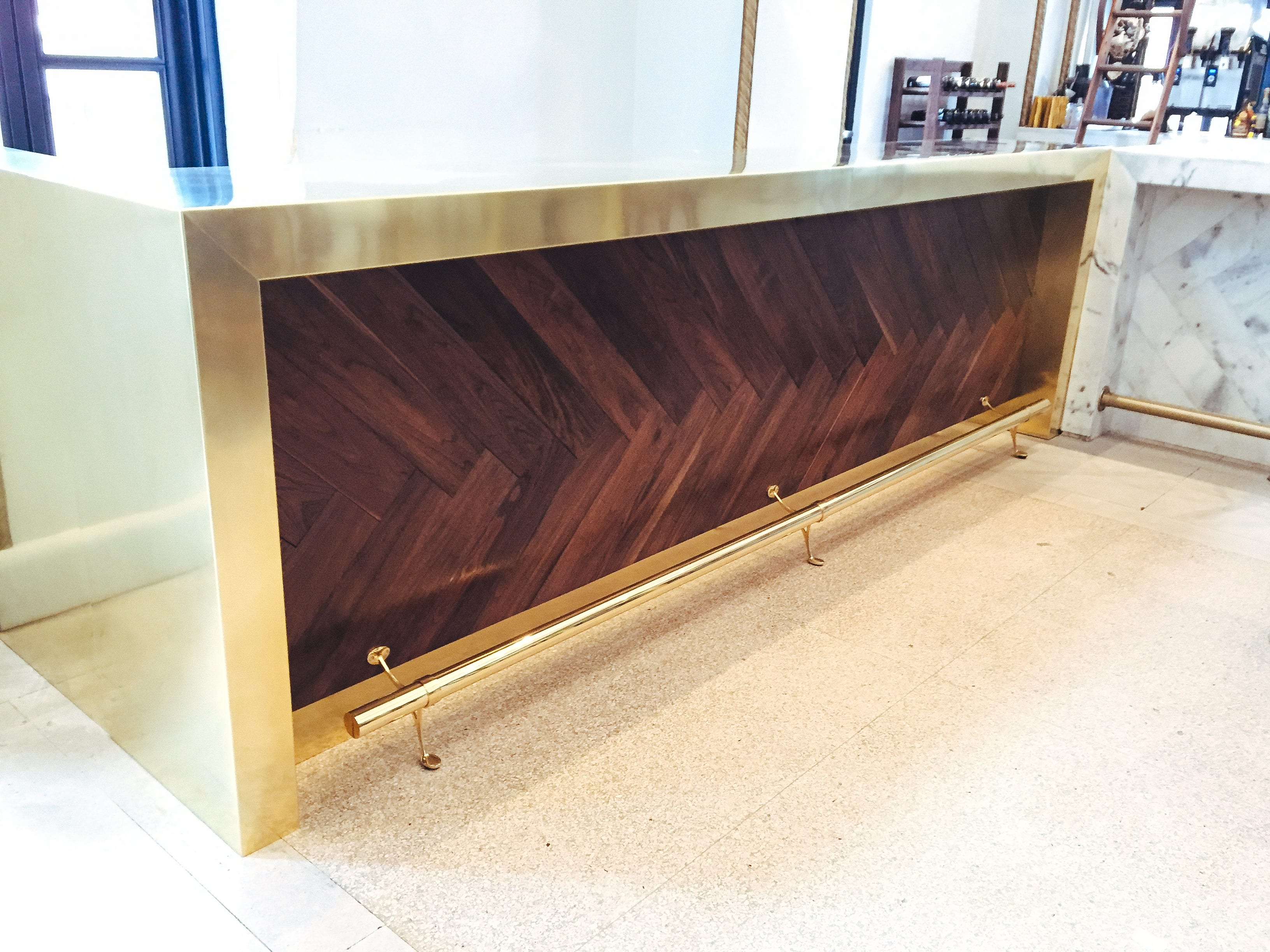 Brass Counter with Walnut details