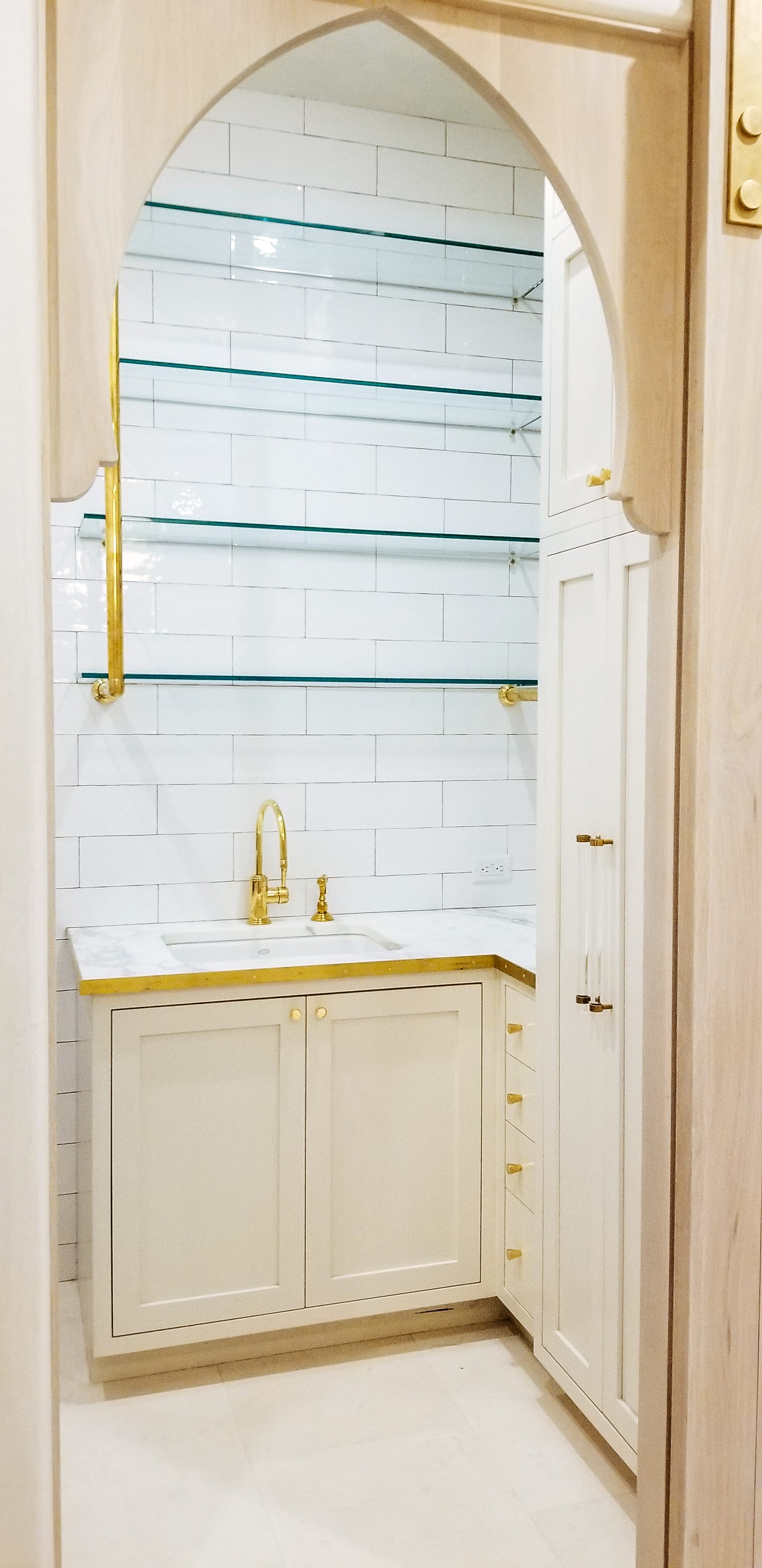 Glass Shelves with Gold Details doorway view