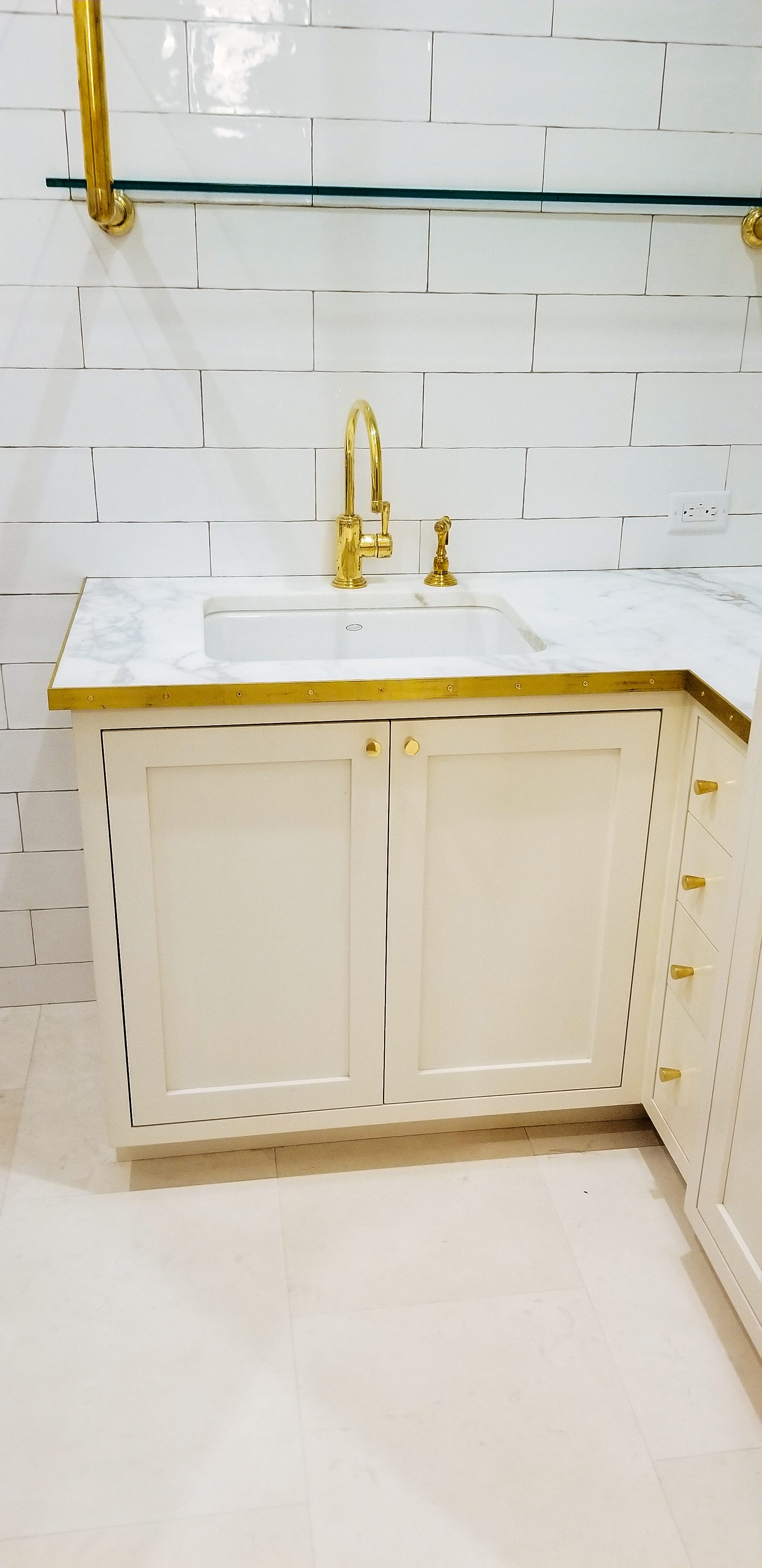 White Wooden Vanity with Gold detailing