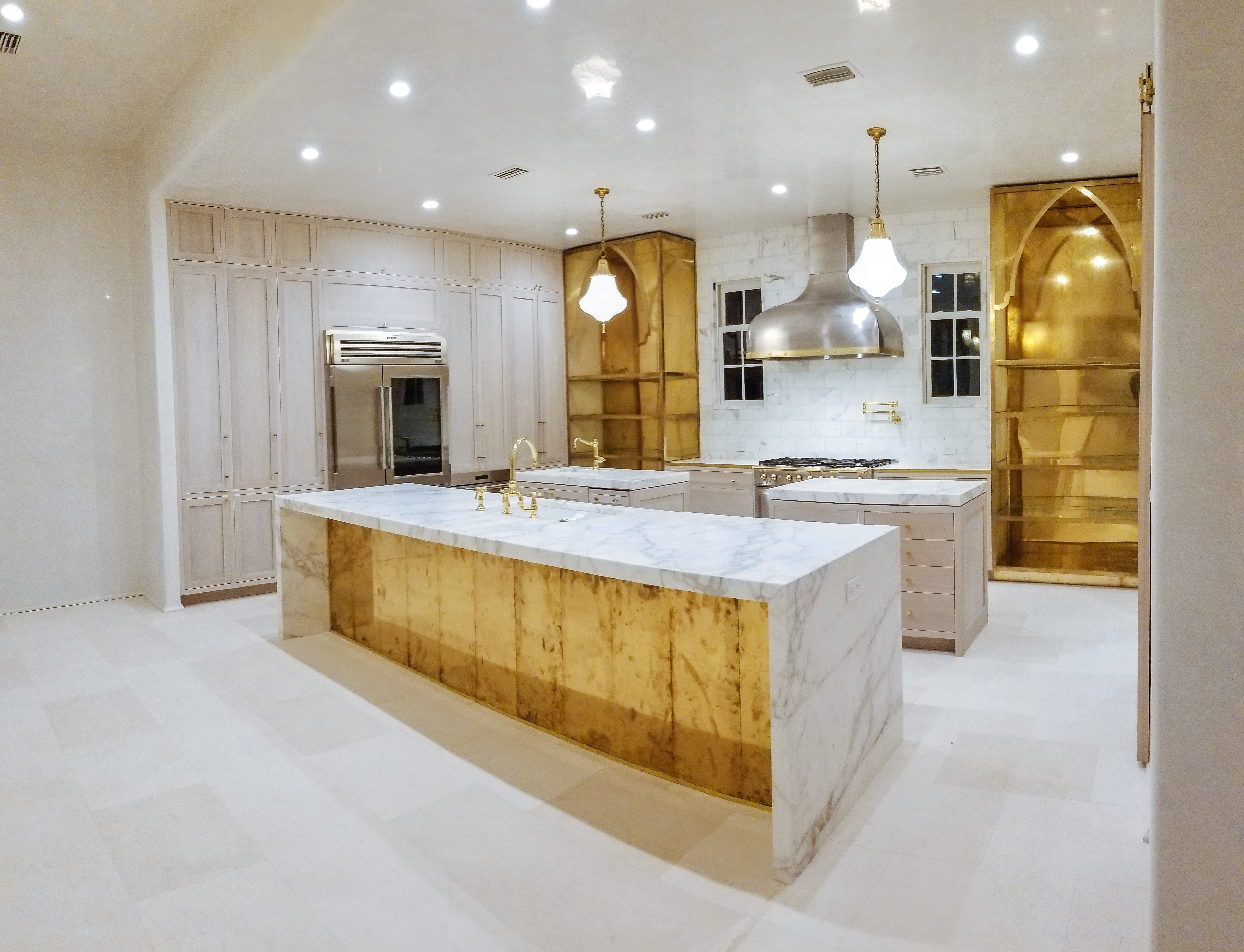Oak and Brass Kitchen front side view