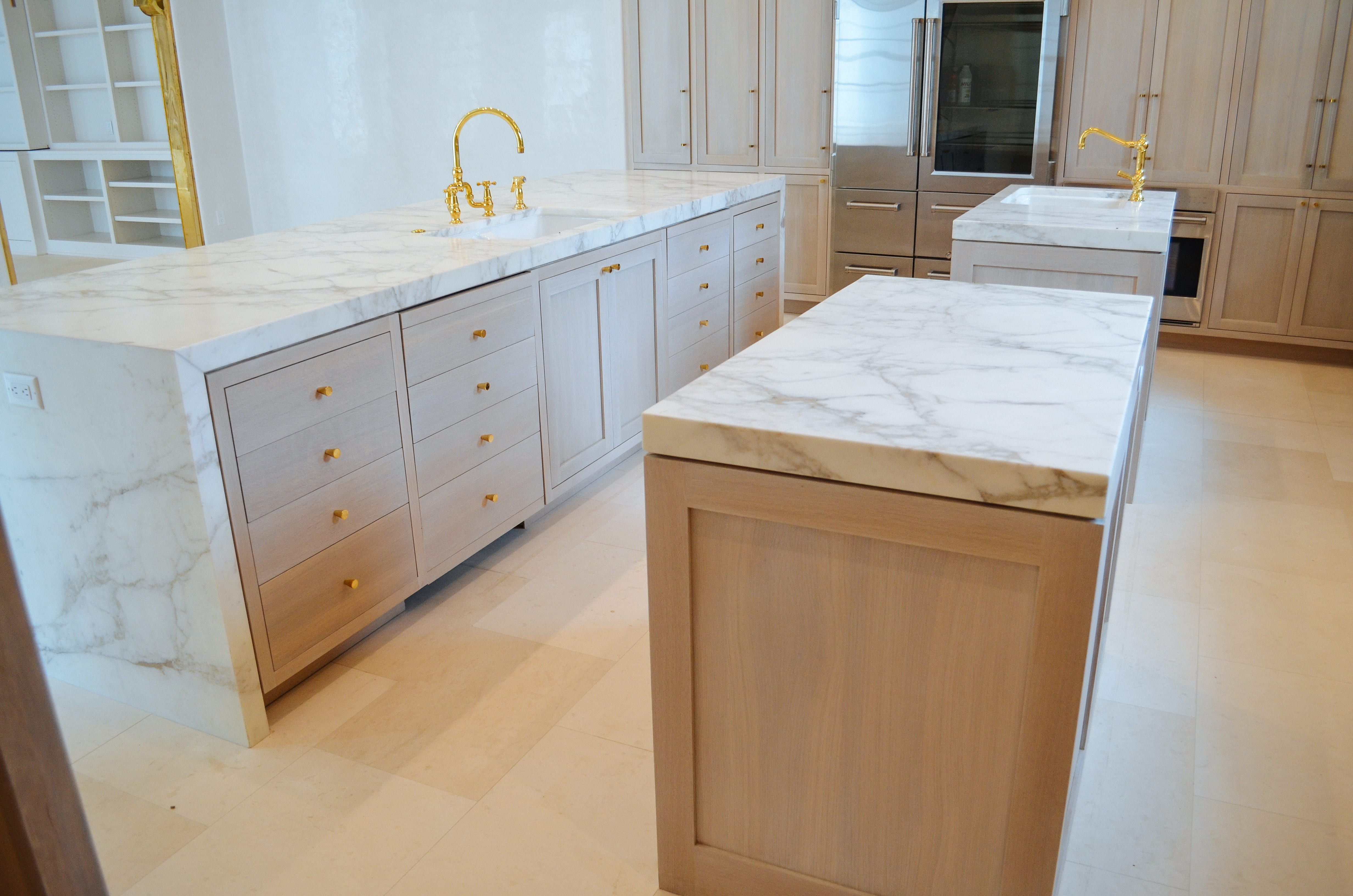 Oak and Brass Kitchen Island and Counters