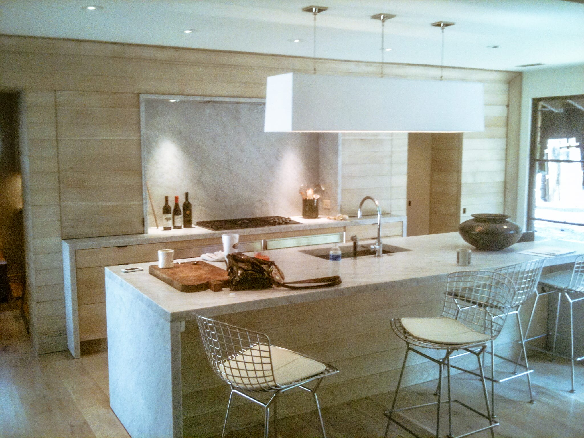 Modern White Oak Kitchen with Grayed Marble Countertops