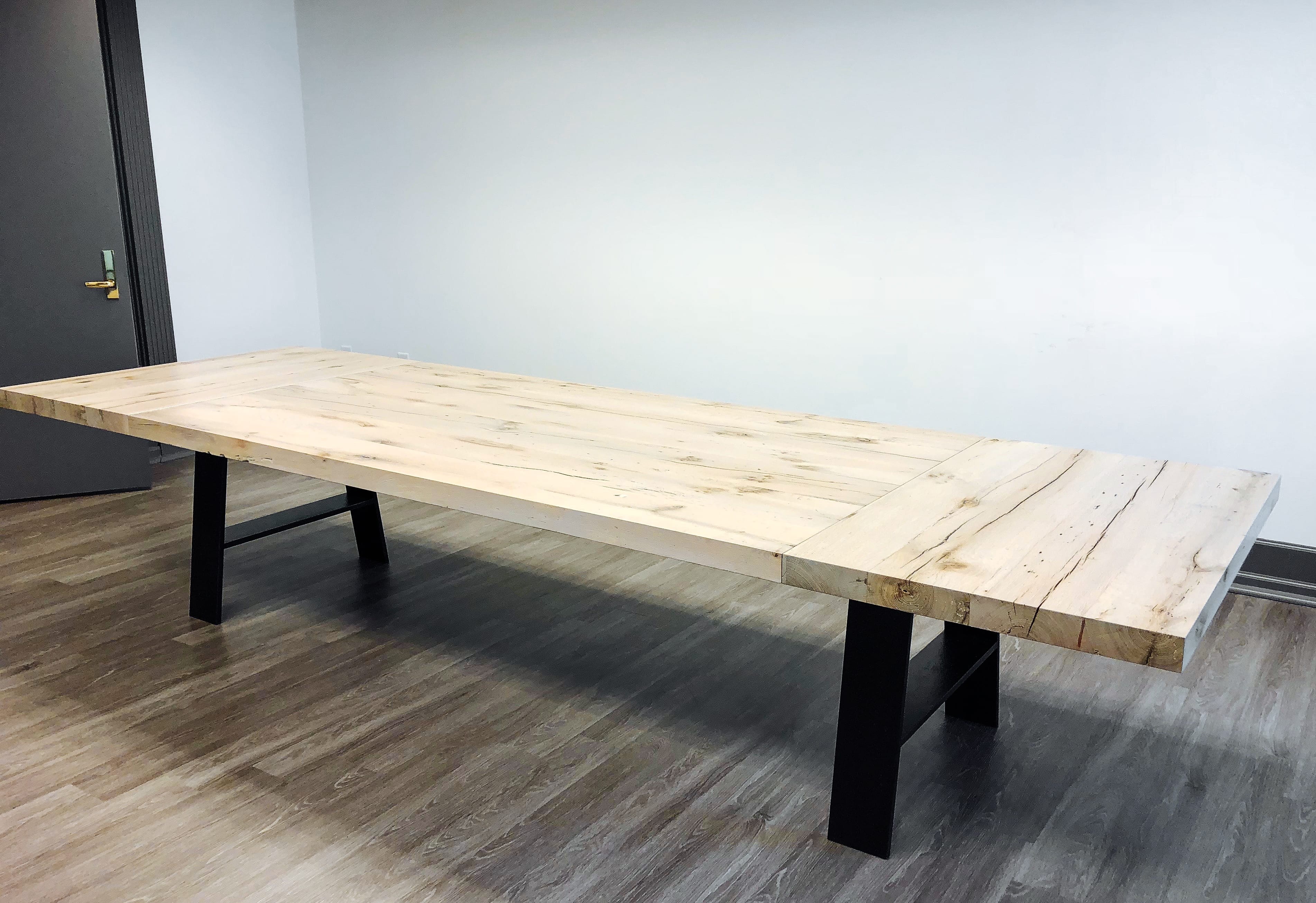 Rustic Wooden table with Steel black legs side view