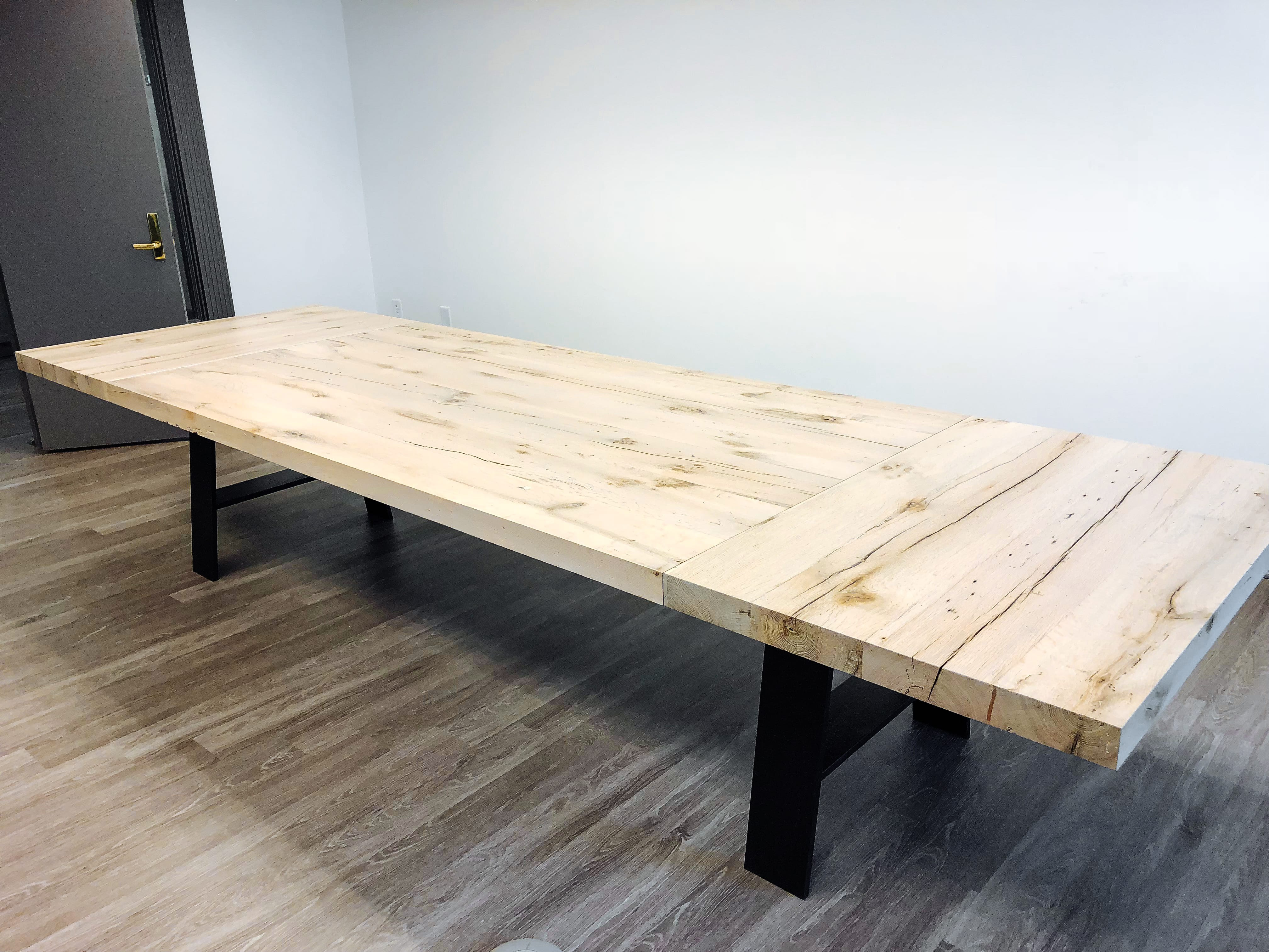 Rustic Wooden table with Steel black legs
