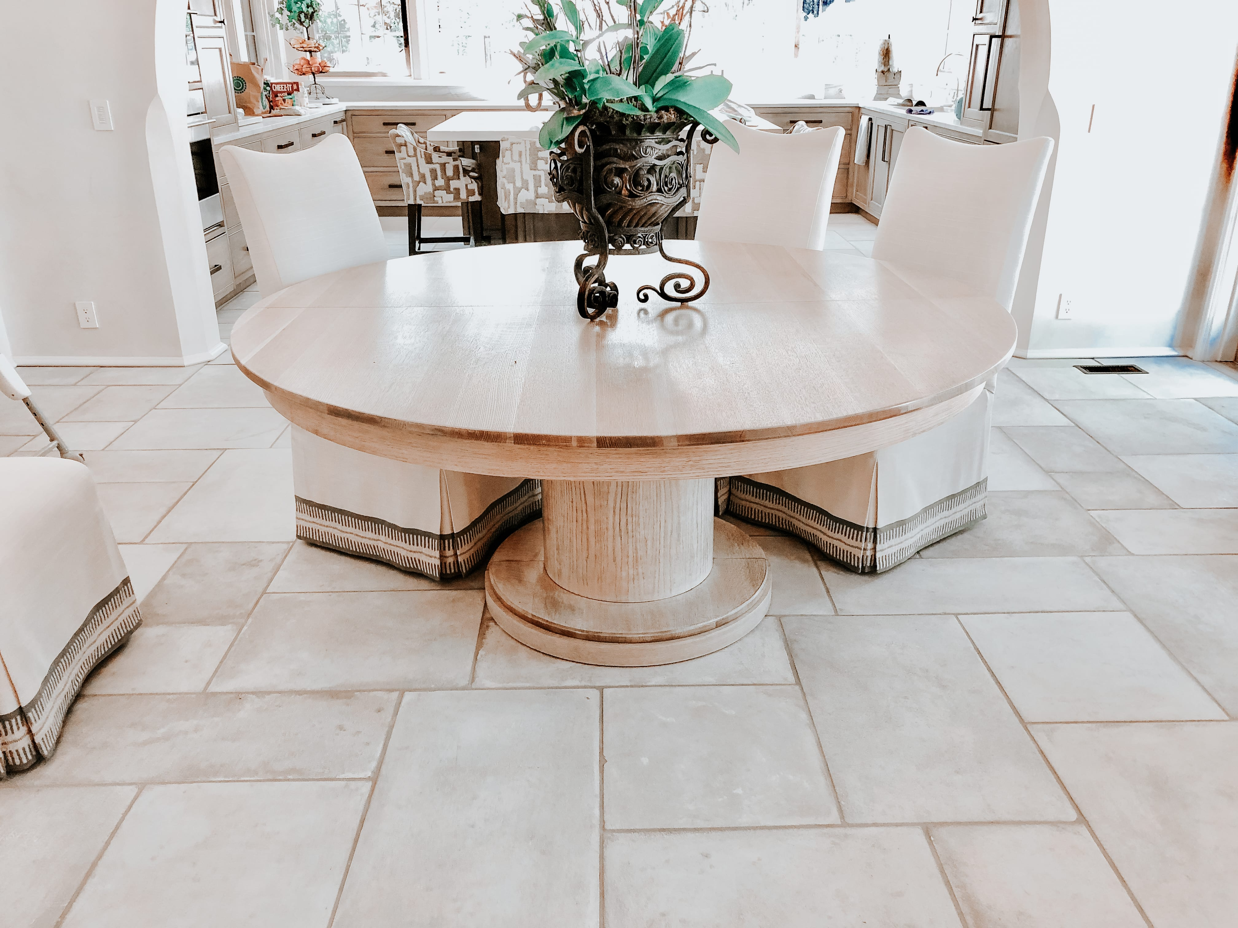Rustic Oak Dining Table with dark wood detailing
