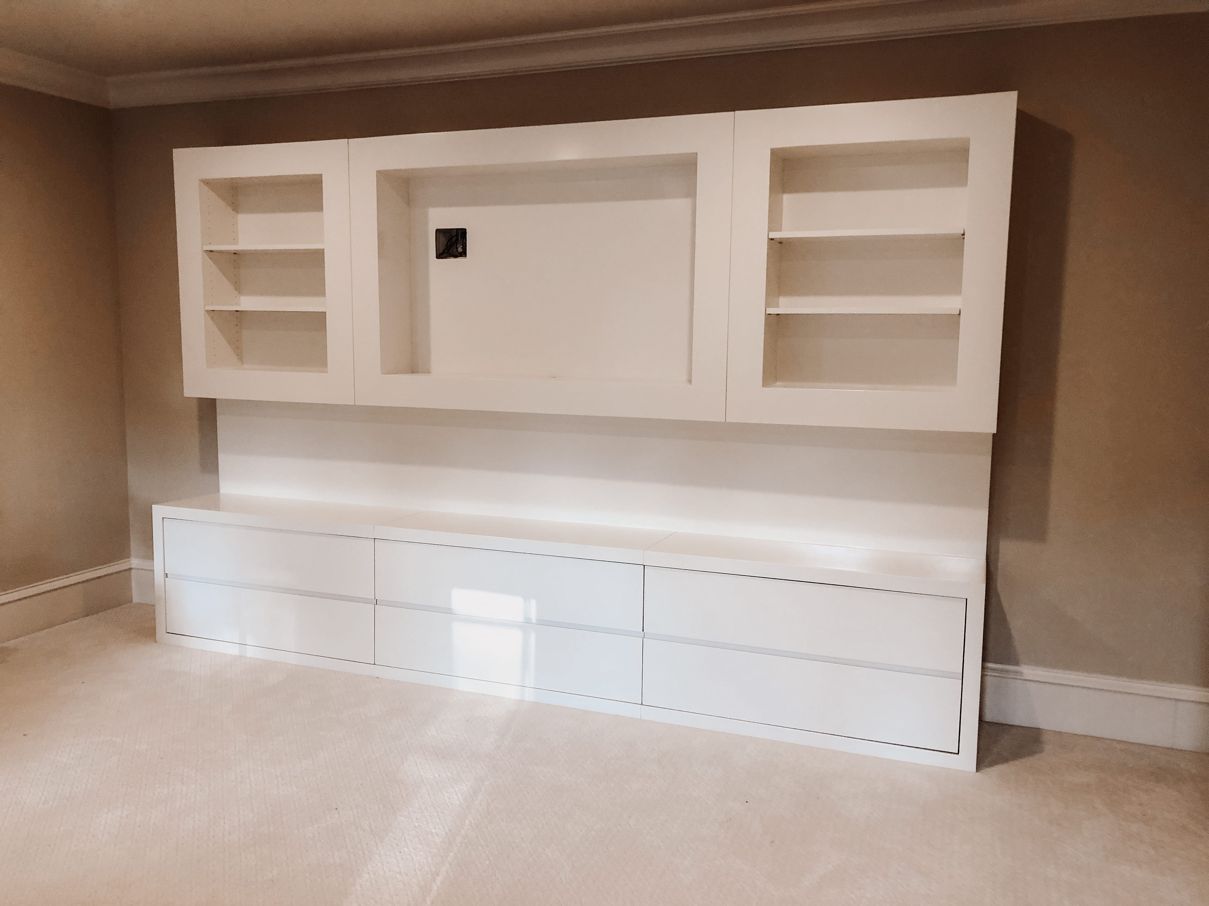 Modern White Entertainment Console with built in shelves