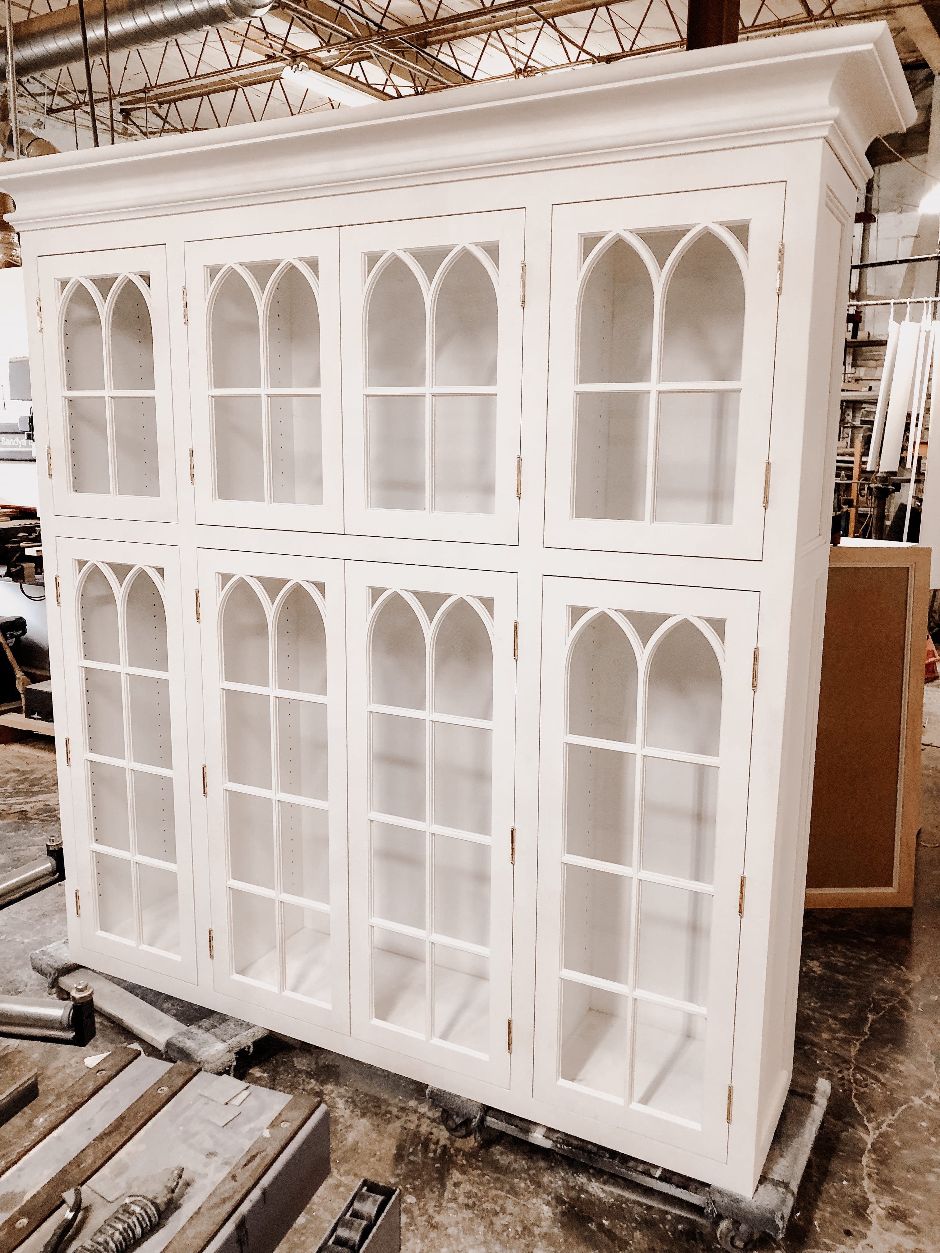 Traditional White Hutch with built in shelving
