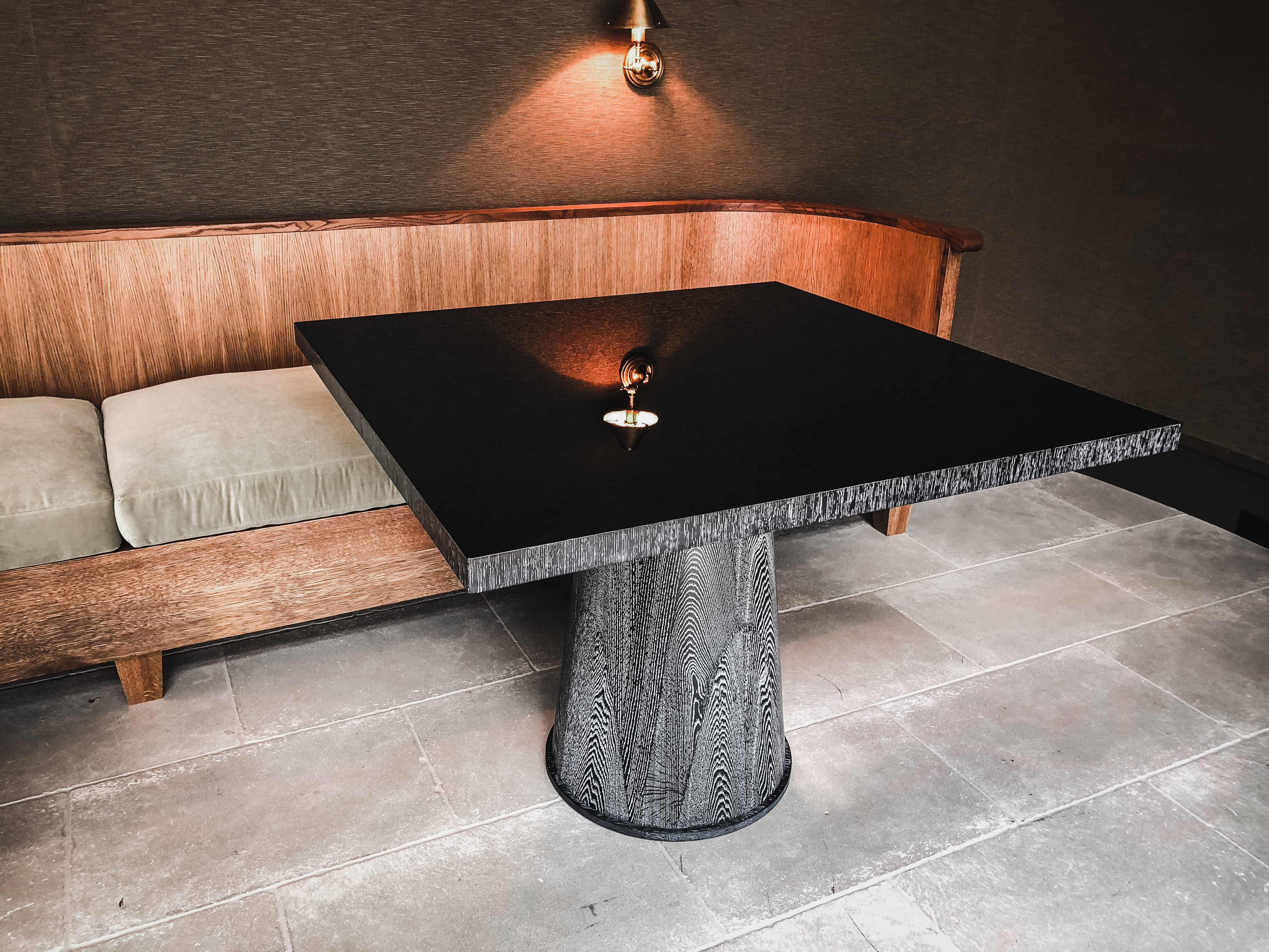 oak and gloss dining table front view