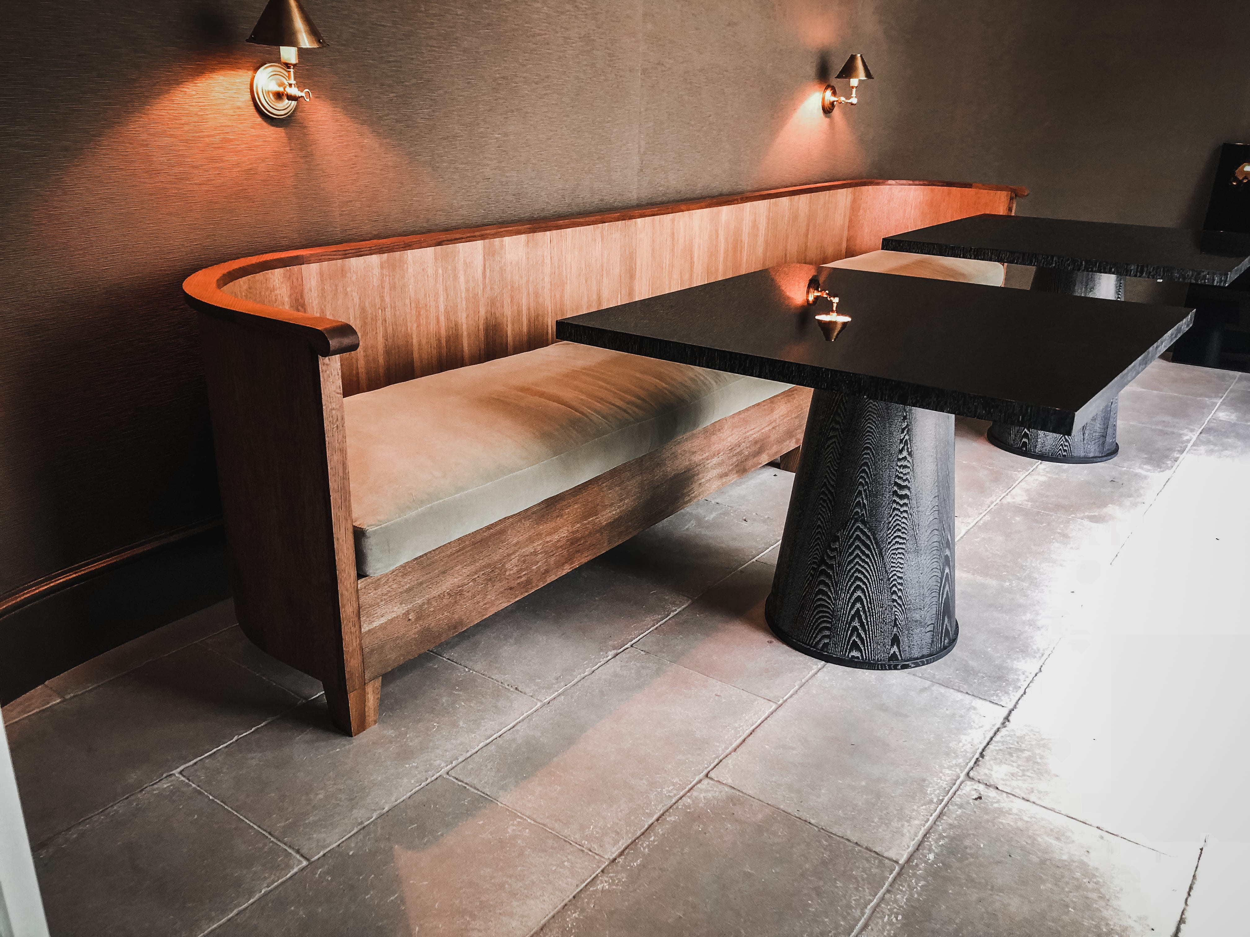 oak and gloss dining tables side view with seating