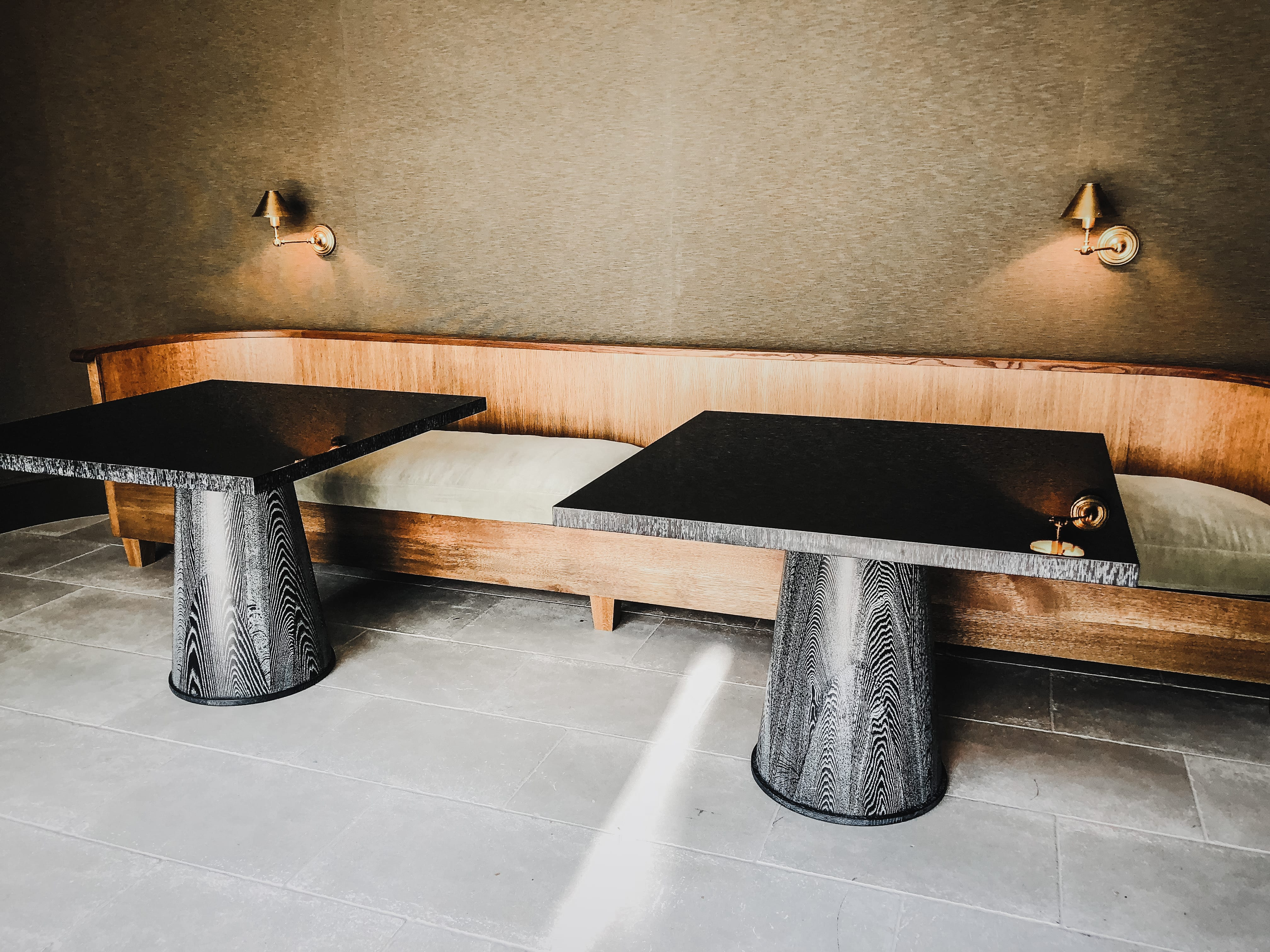 oak and gloss dining tables