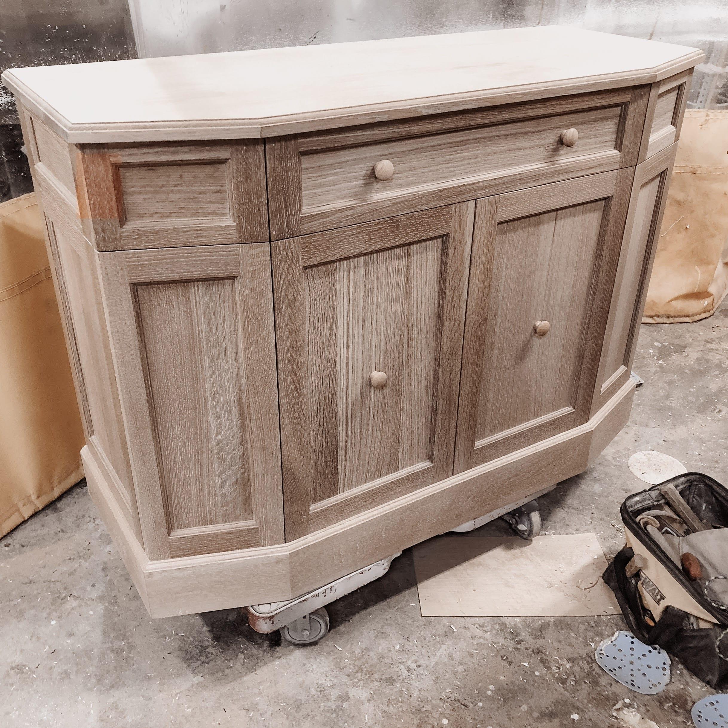 Quartersawn white oak television cabinet