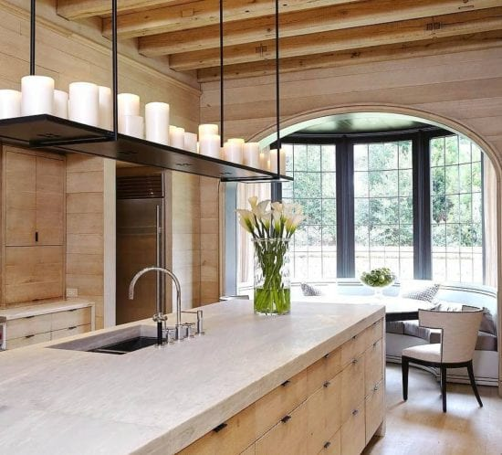 All Wood Kitchen with Gray Marbled Countertops side view