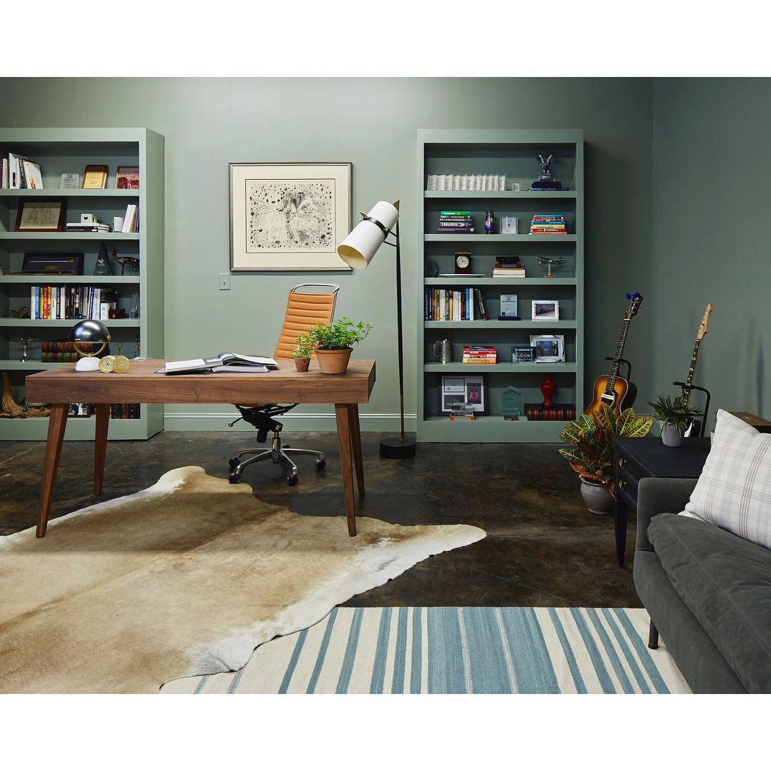 Sea Green Office with Matching Bookcases