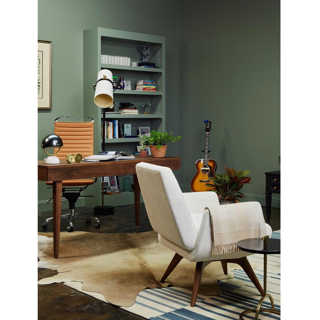 Sea Green Office with Matching Bookcases side view