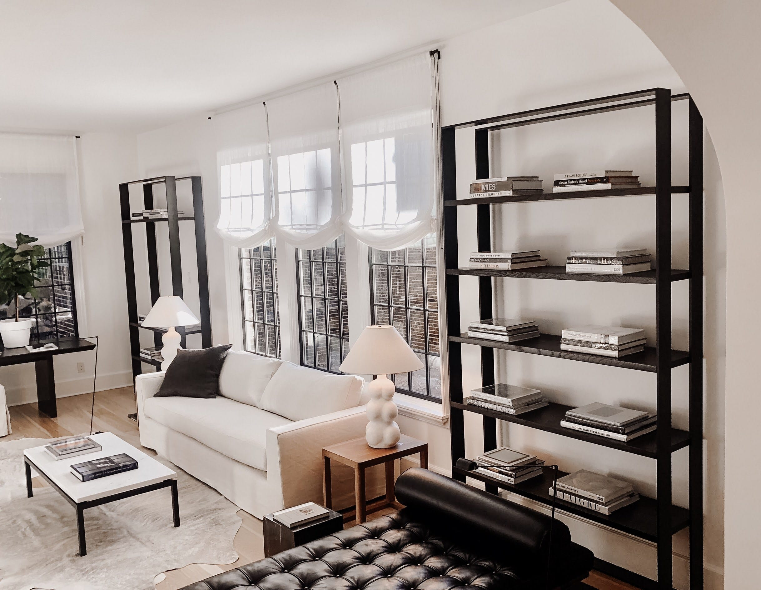 Minimal Black Wooden Bookcases