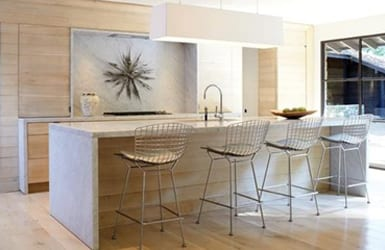 White Oak Kitchen with Gray Marble Countertops full view