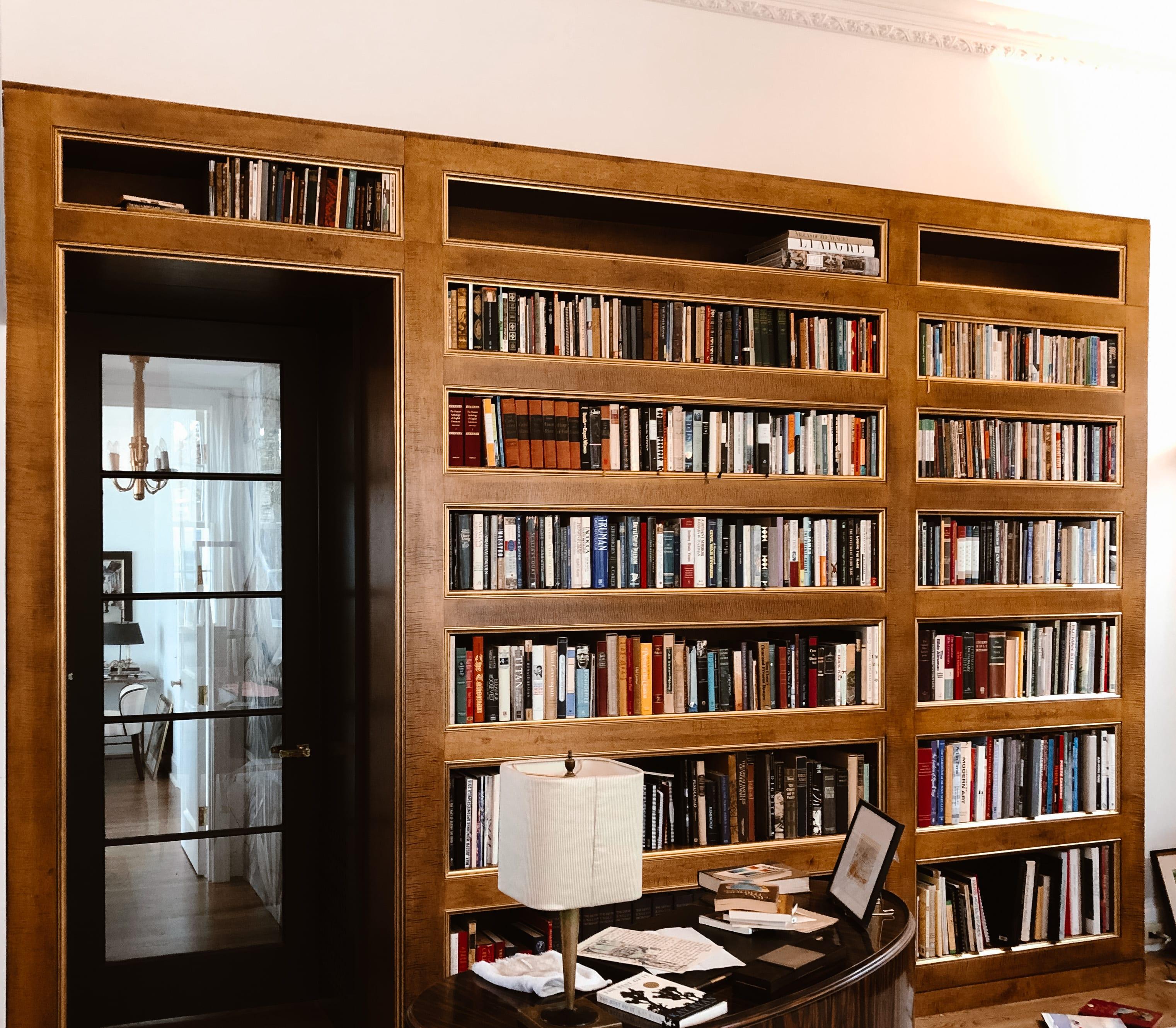 Built in Over the Door Walnut Bookcase