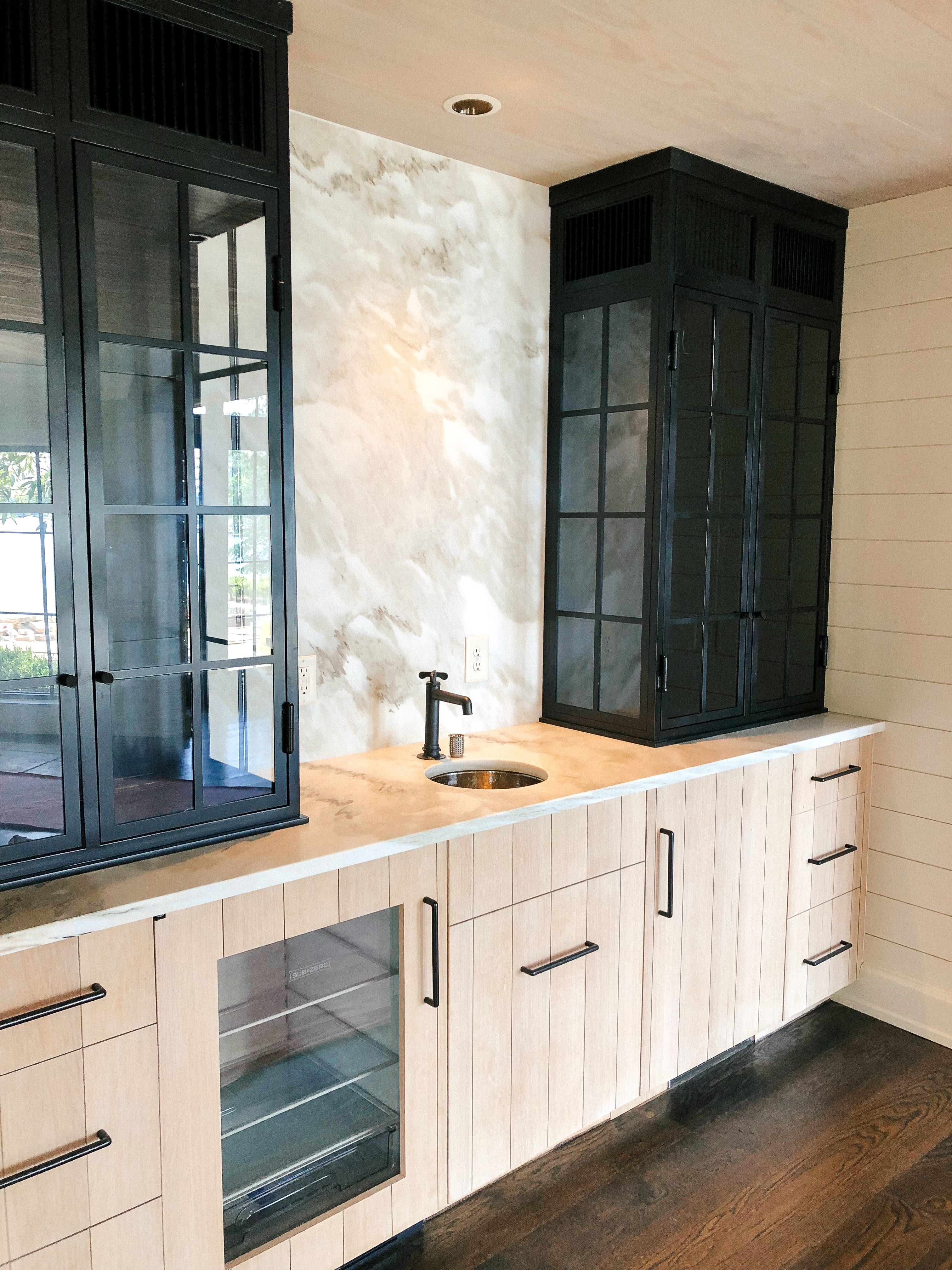 Modern Bathroom Vanity with Wooden and Black Cabinets