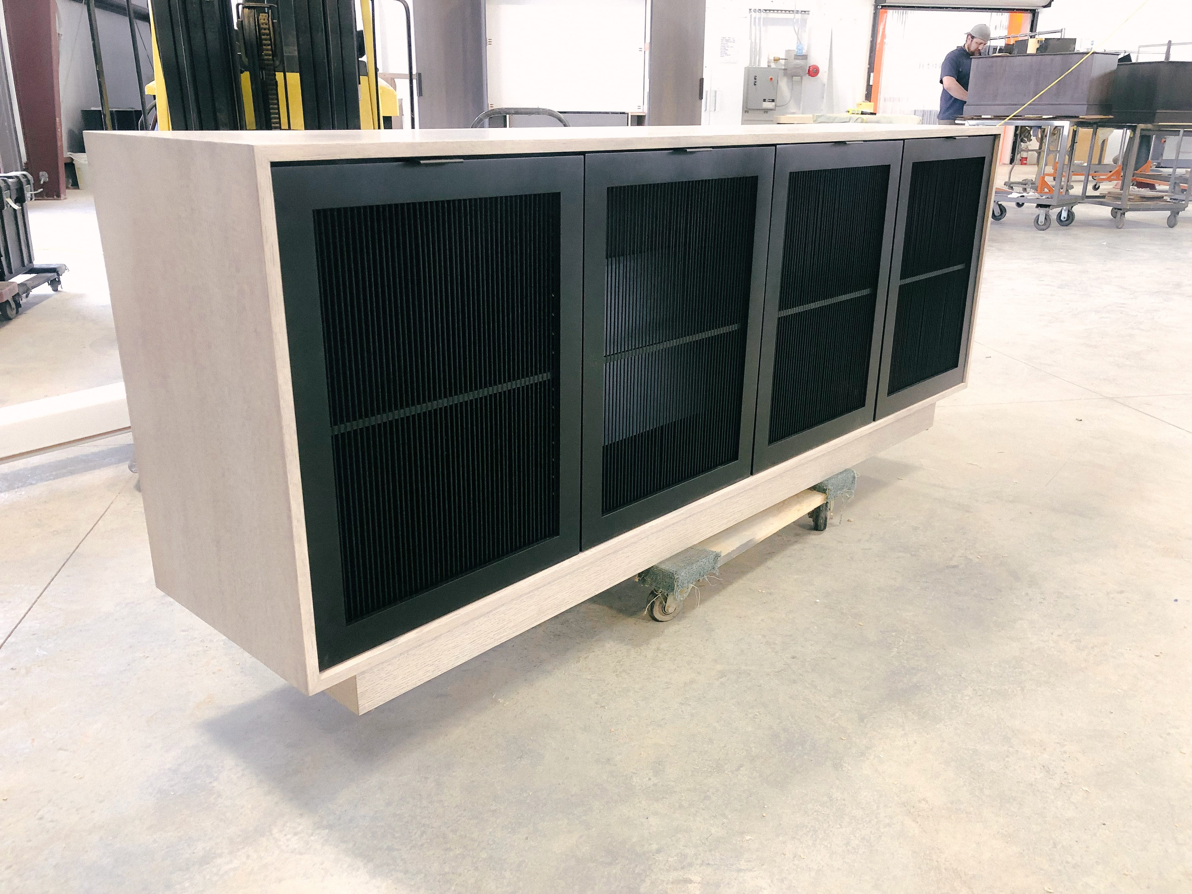 White Oak with Black Front Credenza