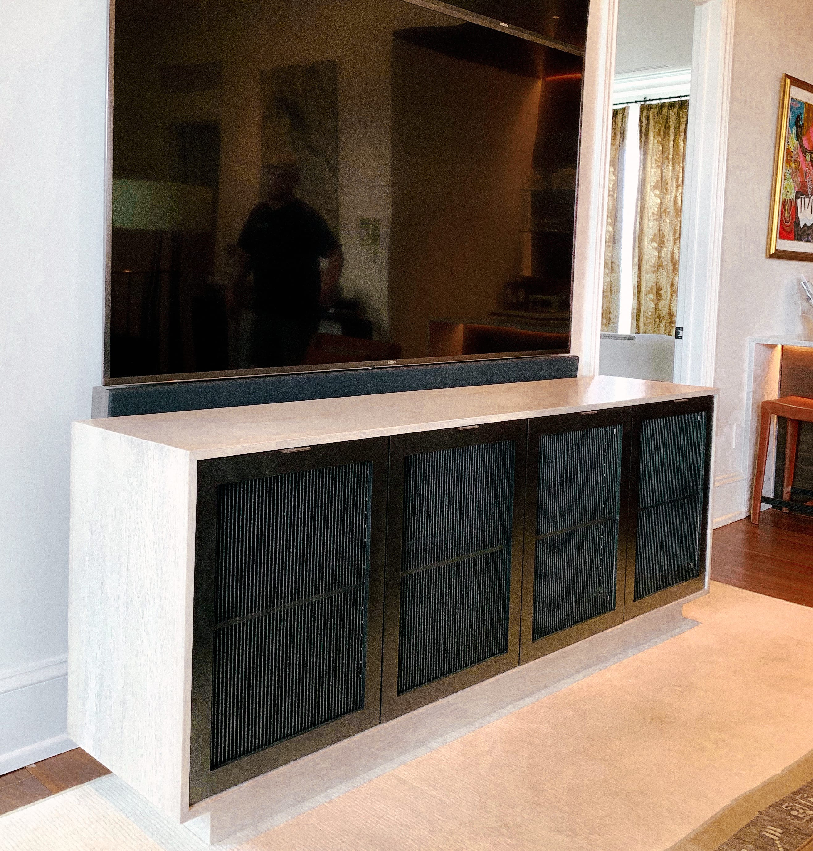 White Oak Credenza with Black Front Panels