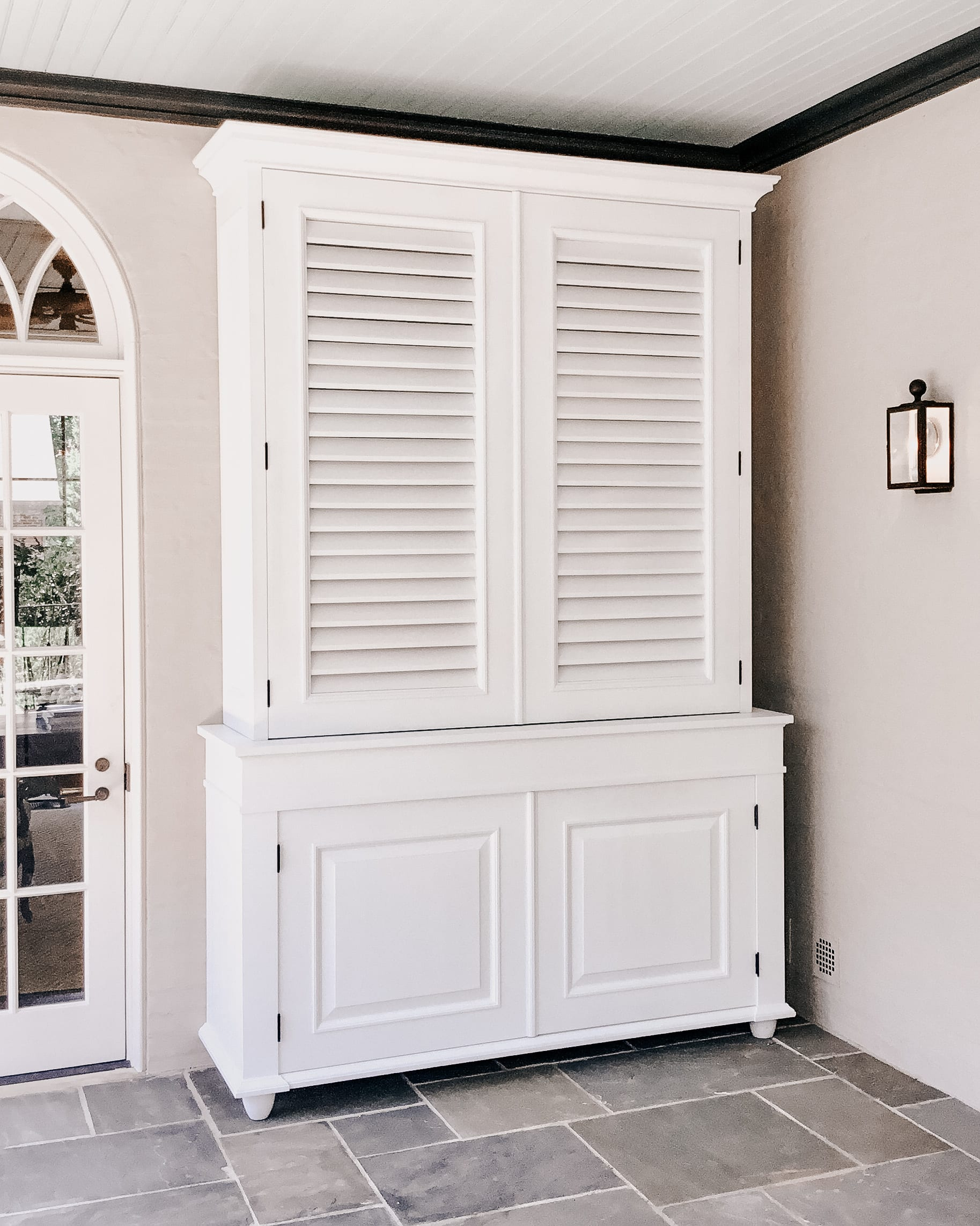 White Storage Cabinet with front panels