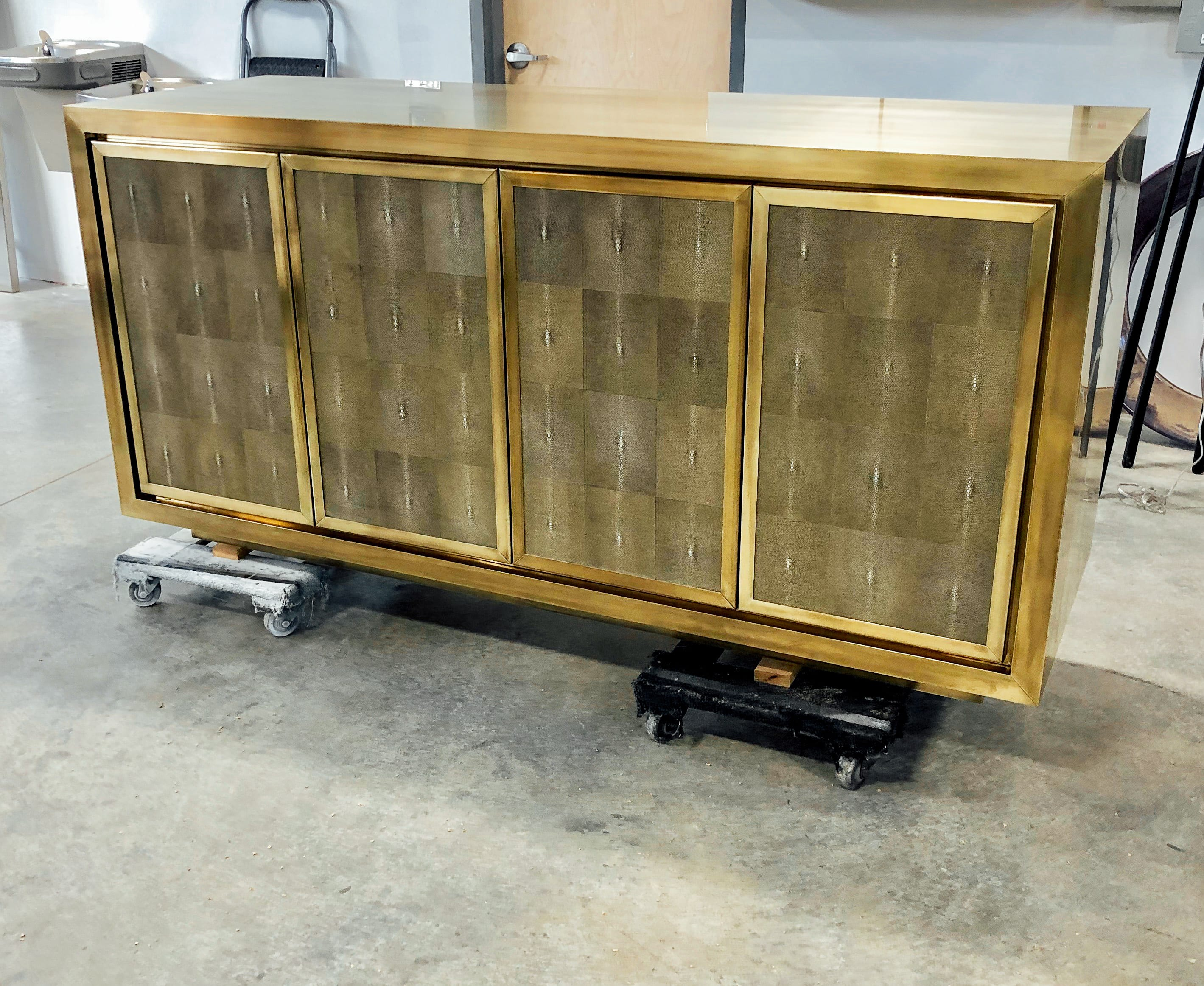 Bold brass and shagreen cabinet