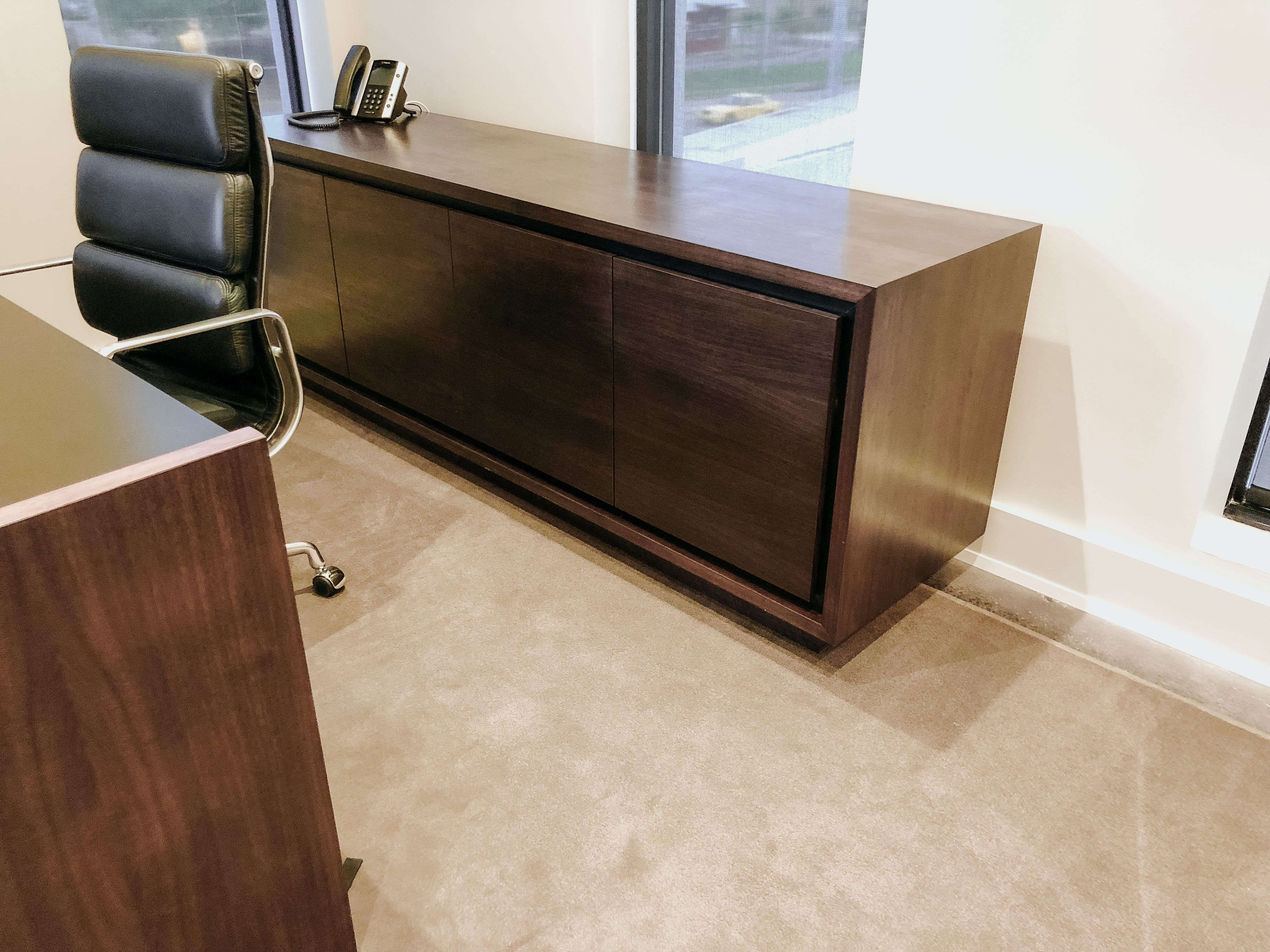 Clean and Modern Walnut Office Credenza