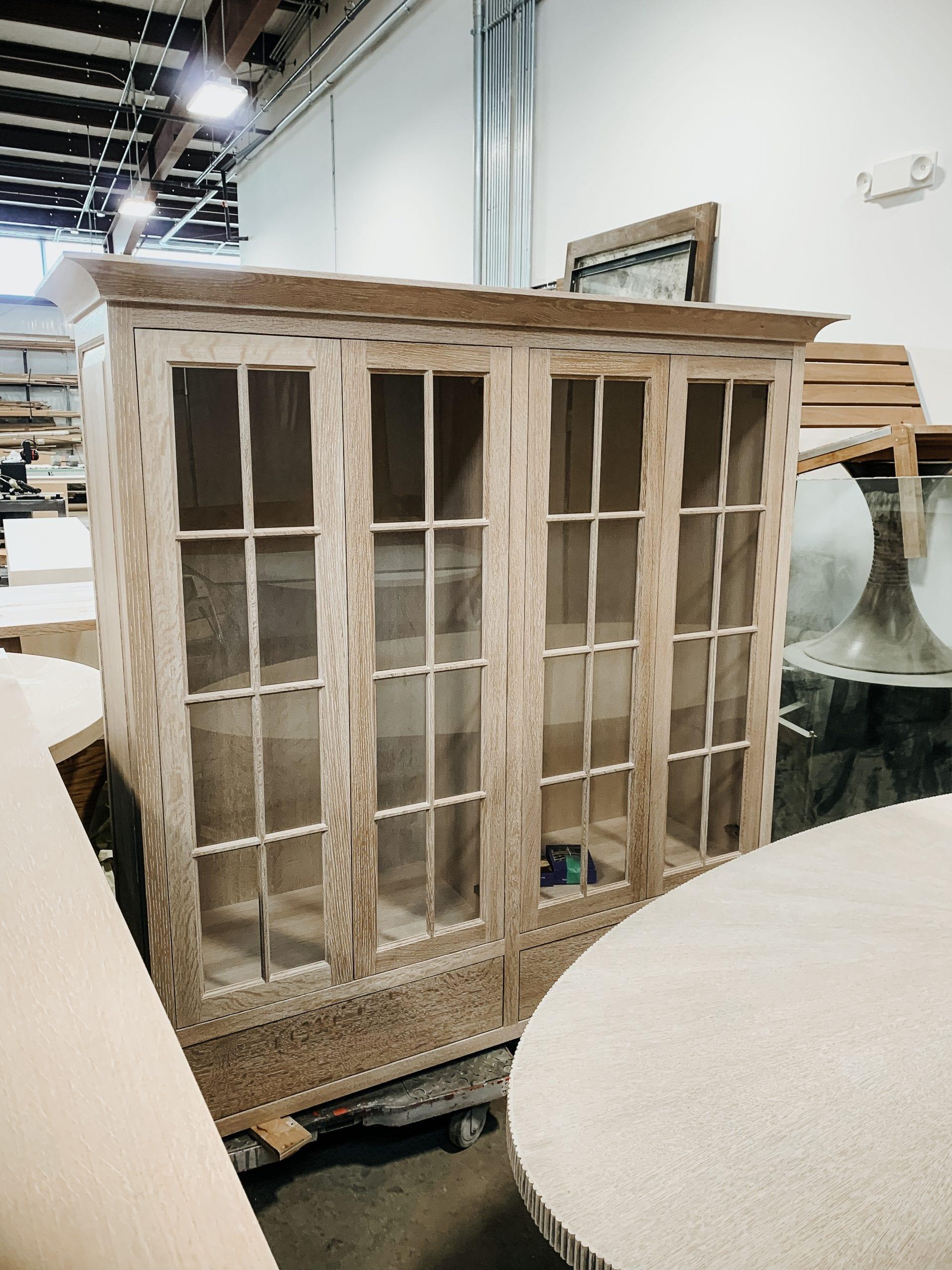 Oak and Glass Display Hutch