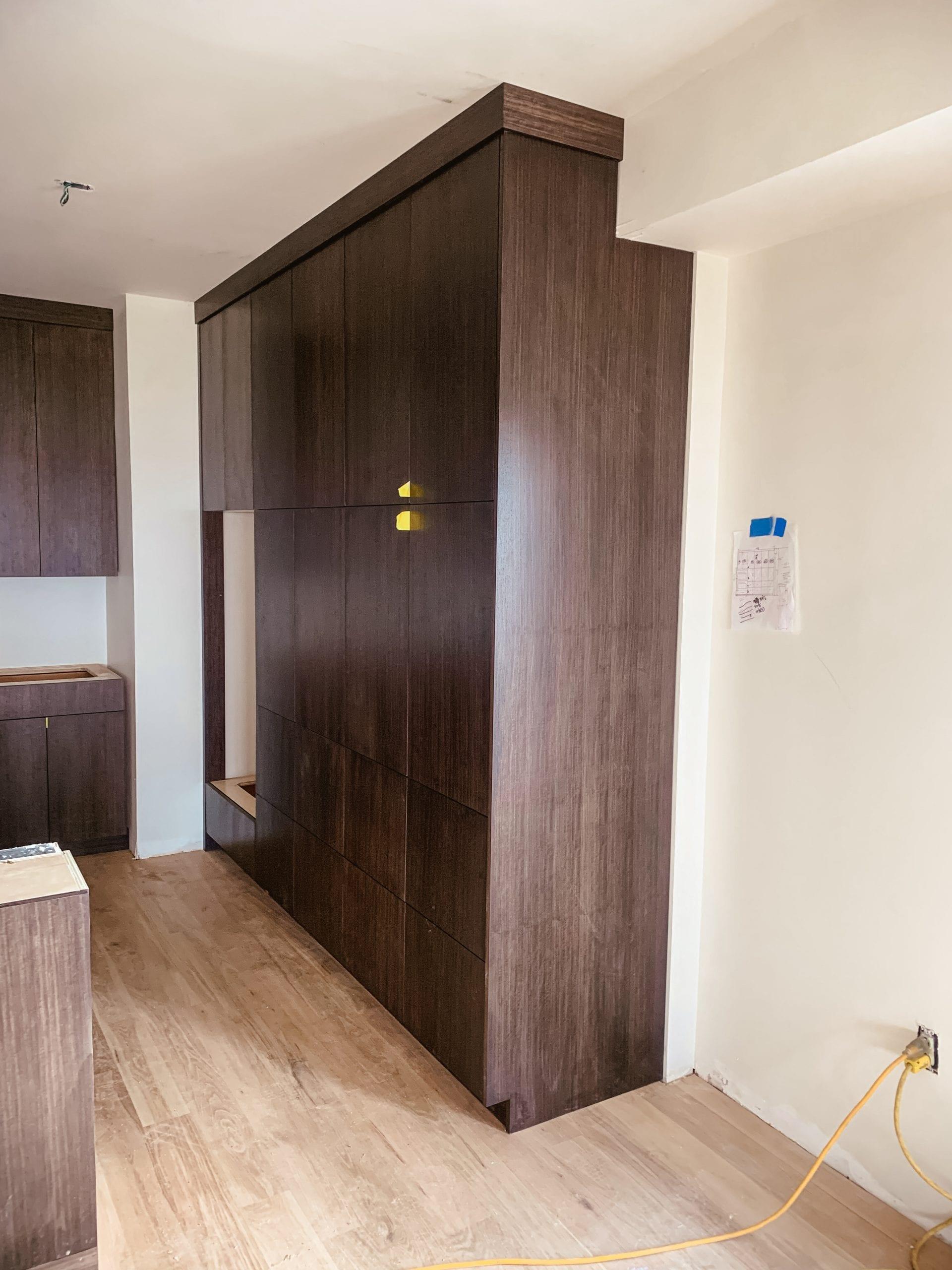 Walnut Floor to ceiling cabinets work in progress