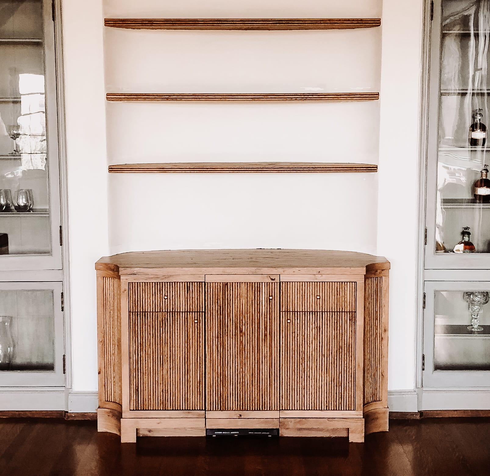Beautiful antique white oak bar cabinets with matching shelves