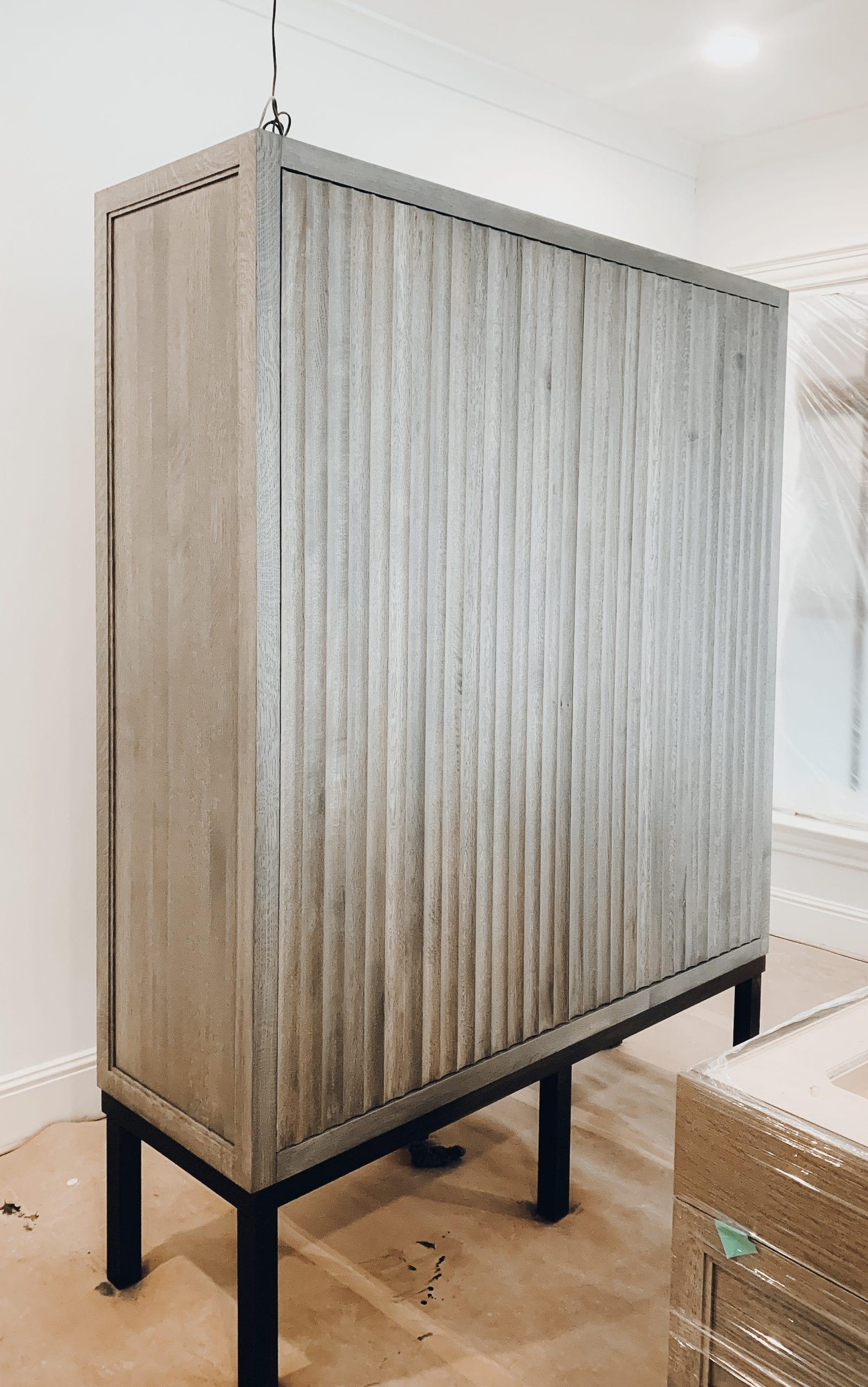 Grayed Oak Storage Cabinet with Black Steel Legs