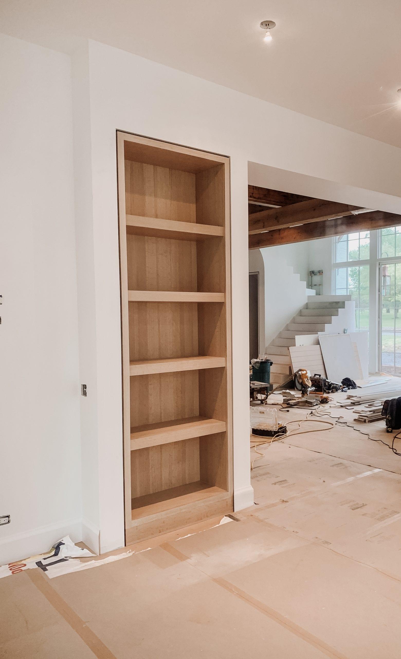 Built in Wooden Shelving