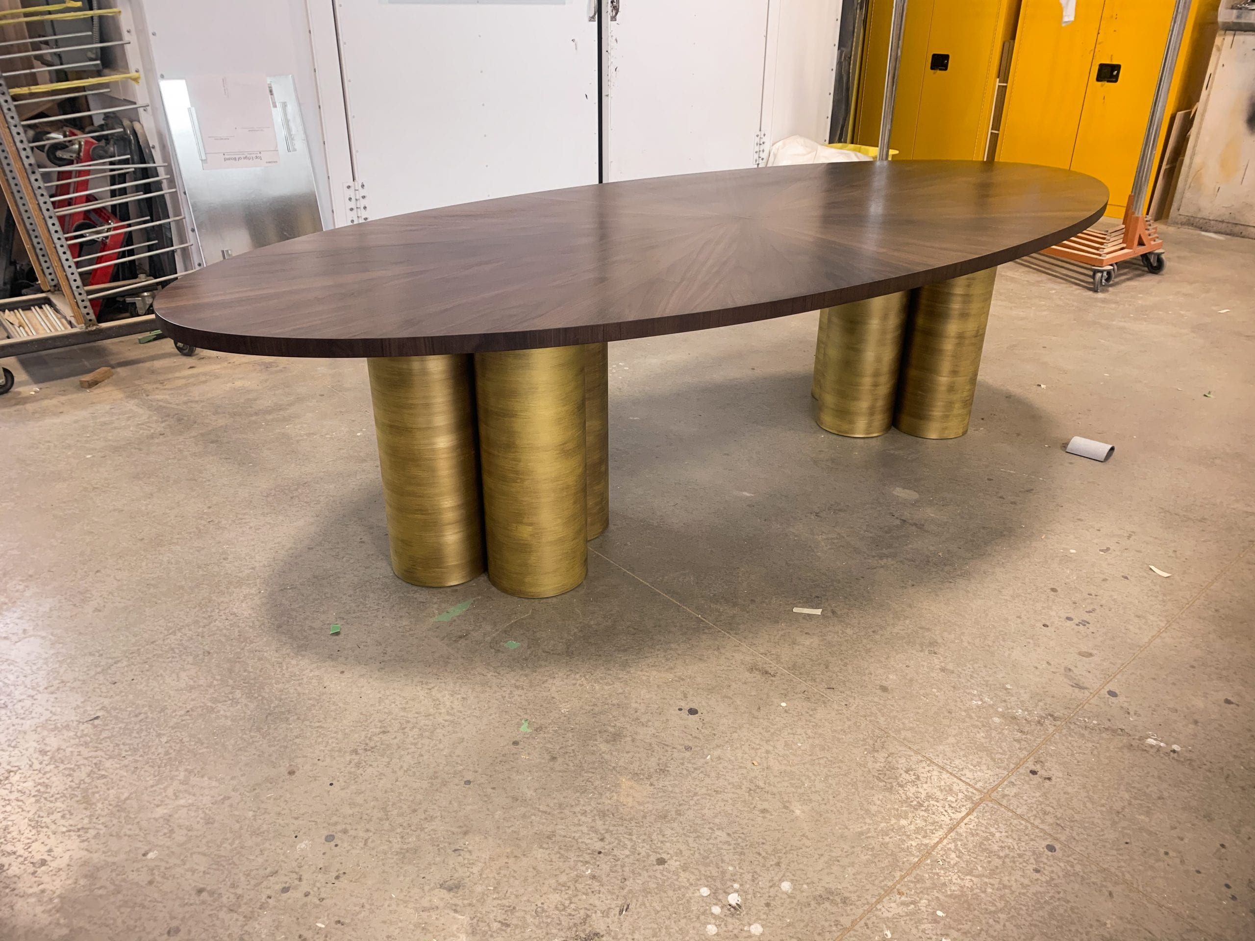 Oval Radiate table with antiqued brass base